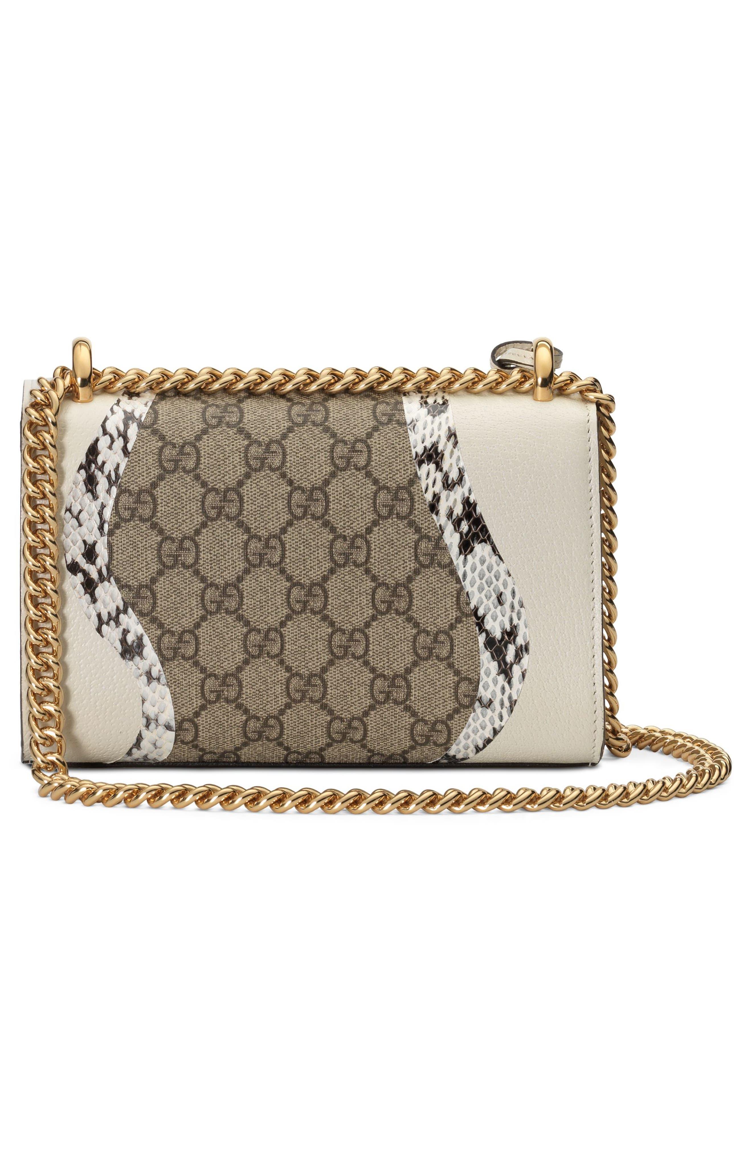 Small Padlock GG Supreme Wave Shoulder Bag with Genuine Snakeskin Trim,                             Alternate thumbnail 2, color,                             White/ Roccia/ Beige Ebony