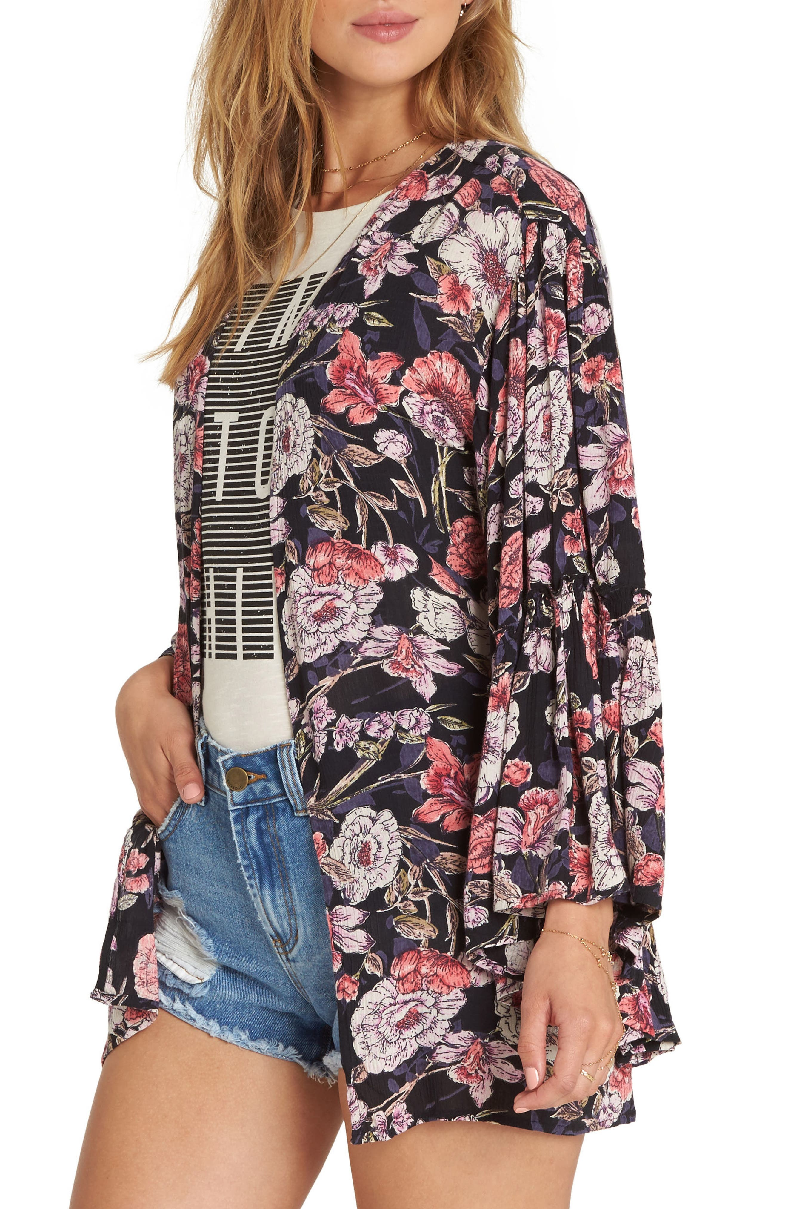 All Flored Floral Kimono,                             Alternate thumbnail 3, color,                             Black