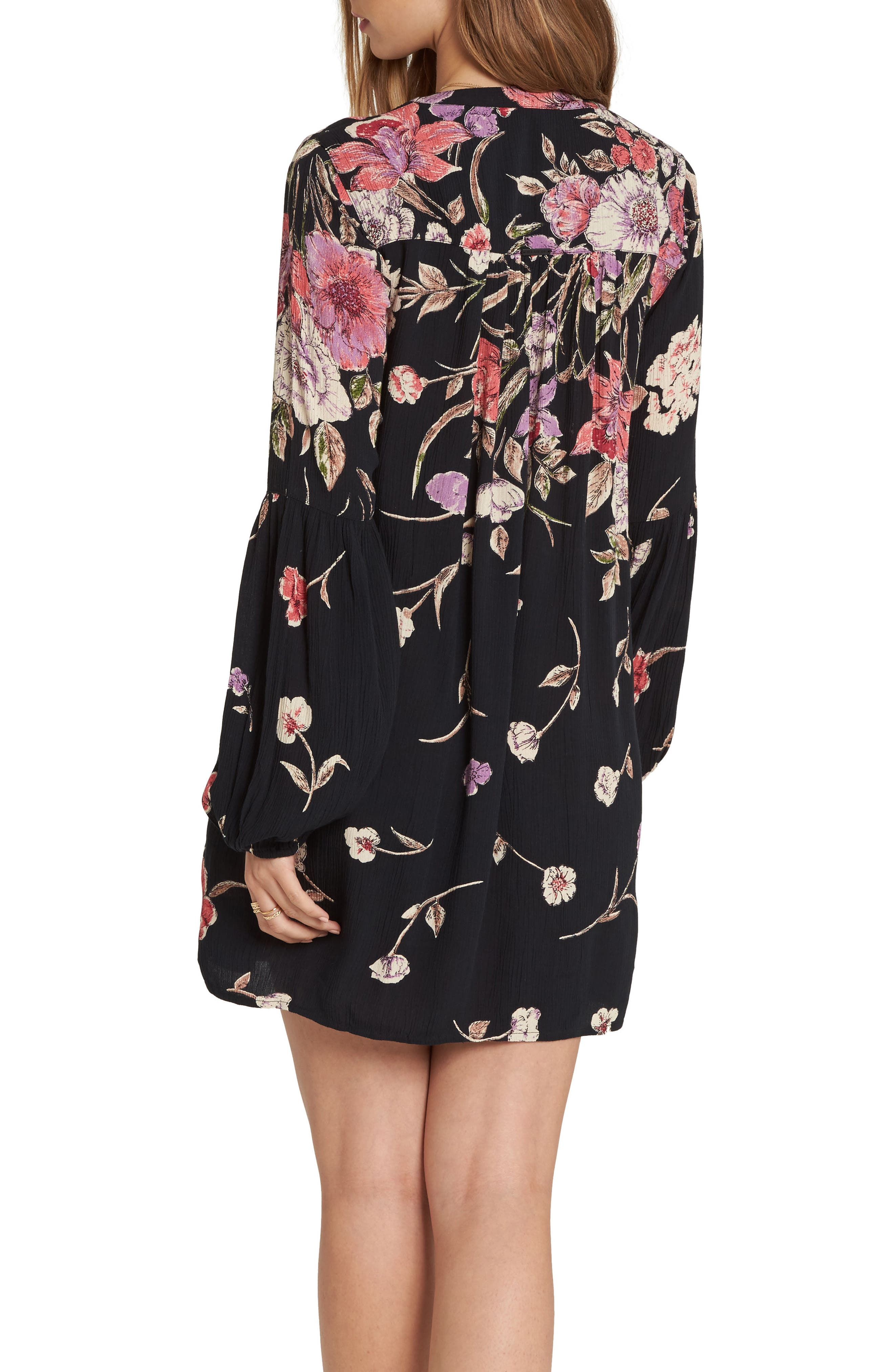 Pretty Please Smocked Sundress,                             Alternate thumbnail 2, color,                             Black Floral