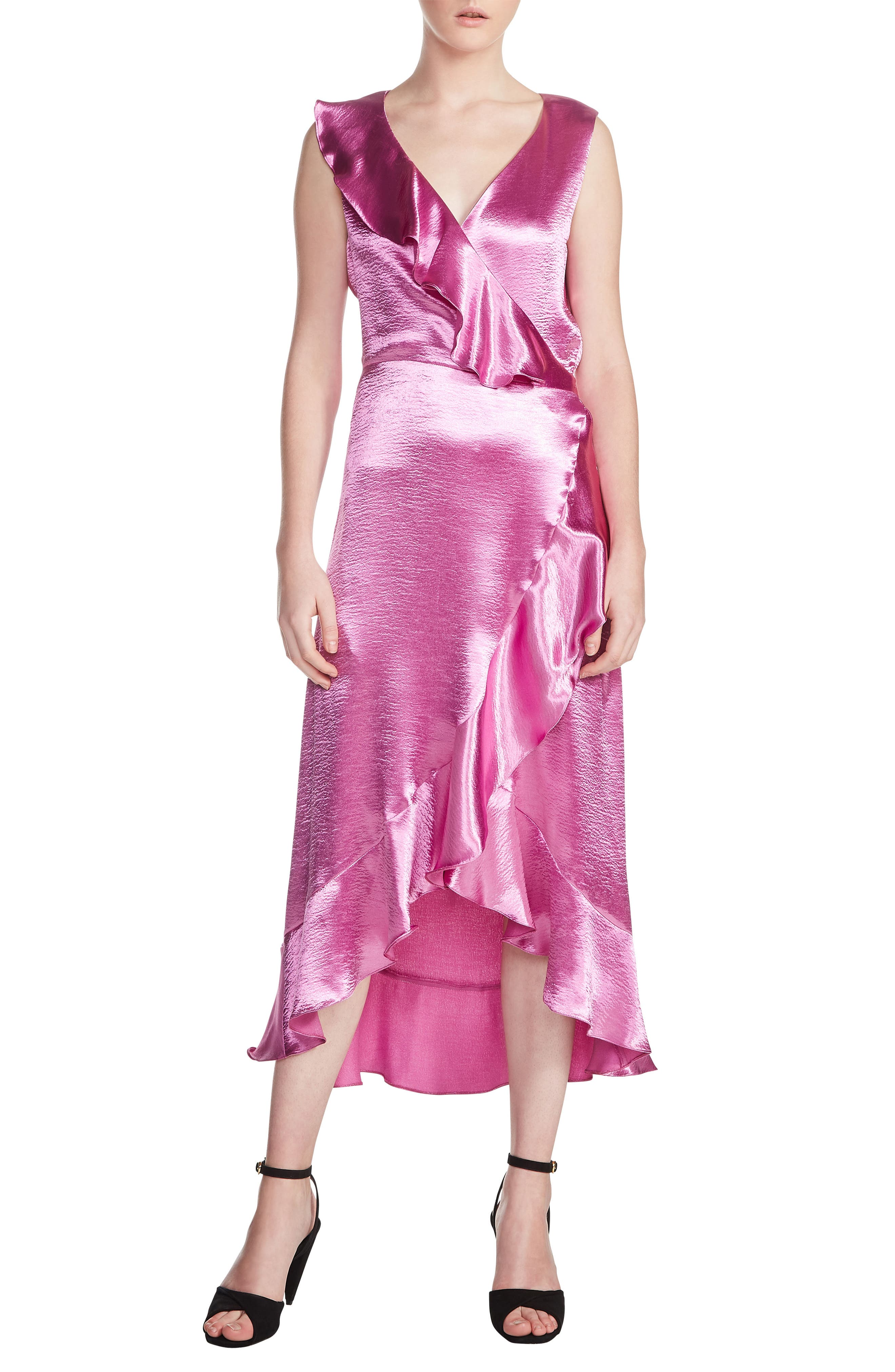 maje Ripple Ruffle Detail Satin Wrap Dress