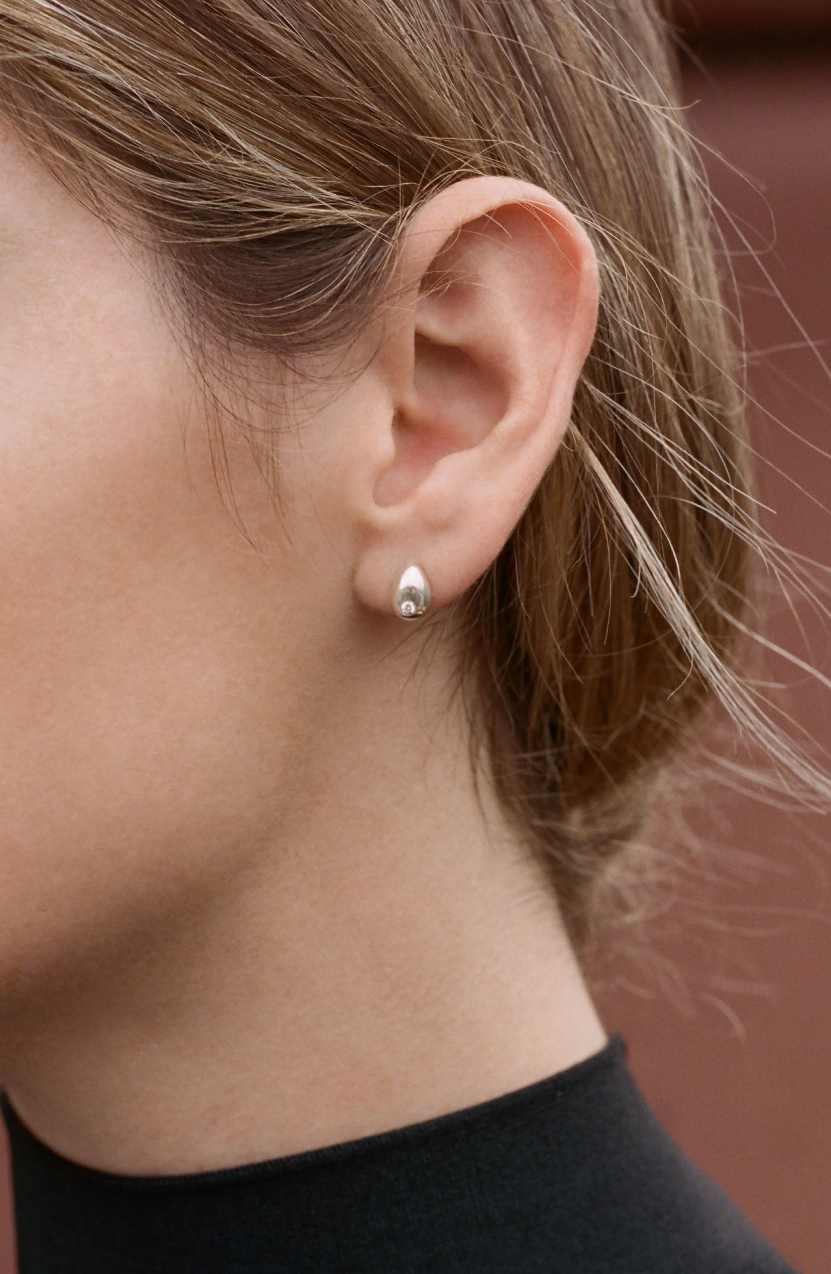 Tiny Egg Diamond Stud Earrings,                             Alternate thumbnail 2, color,                             Silver