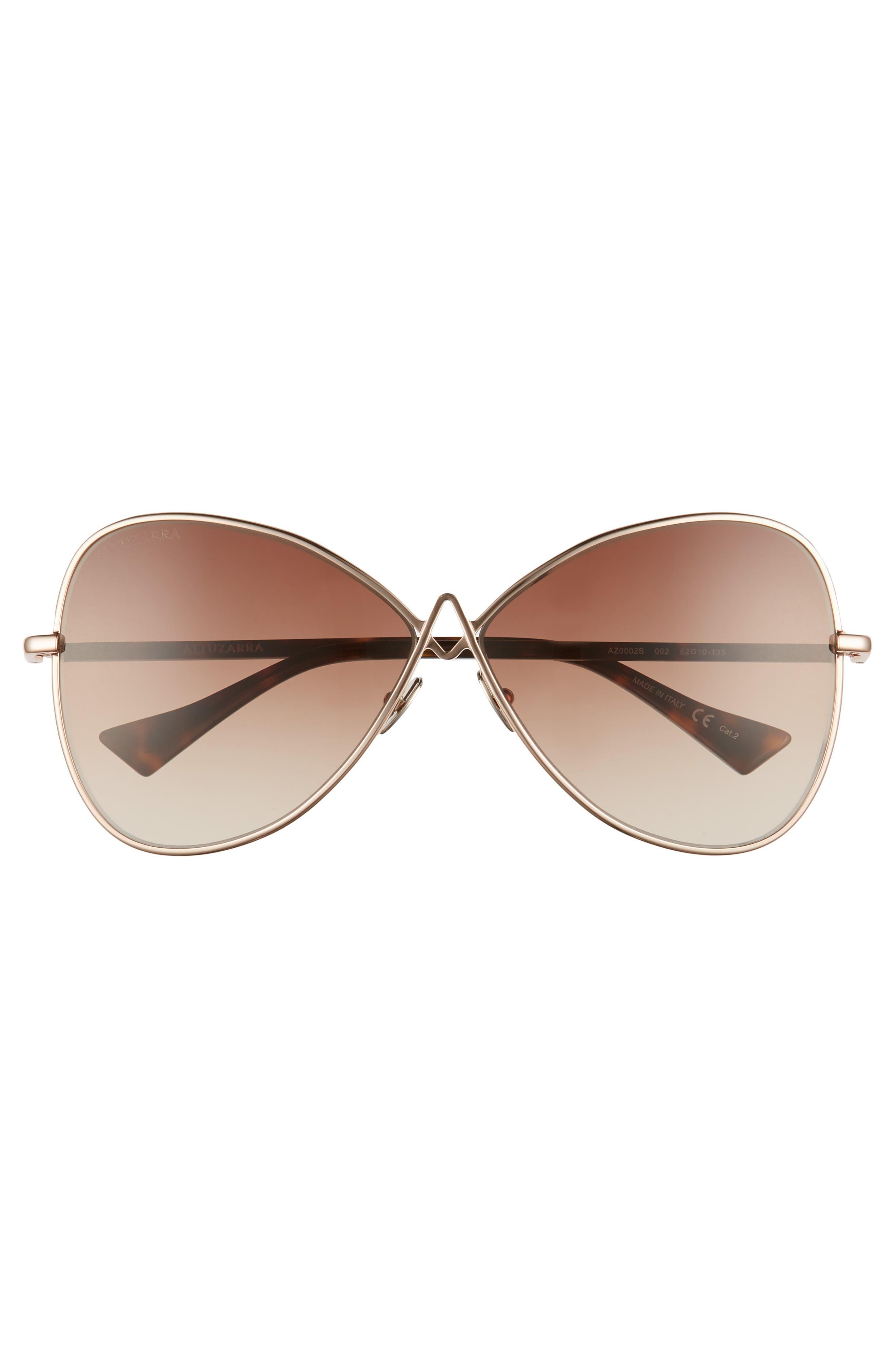 62mm Sunglasses,                             Alternate thumbnail 3, color,                             Rose Gold