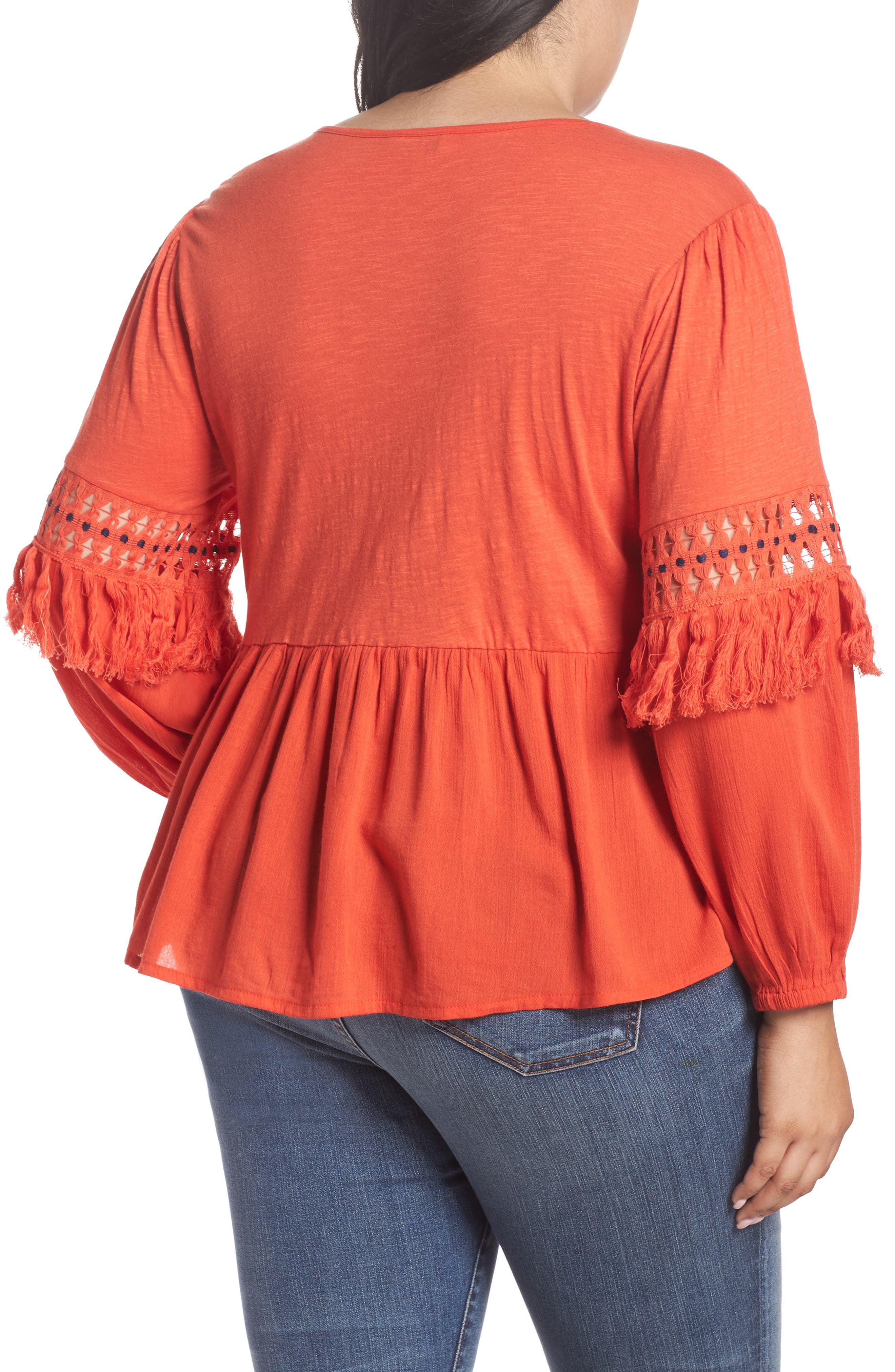 Cutout Peasant Top,                             Alternate thumbnail 2, color,                             Red Clay