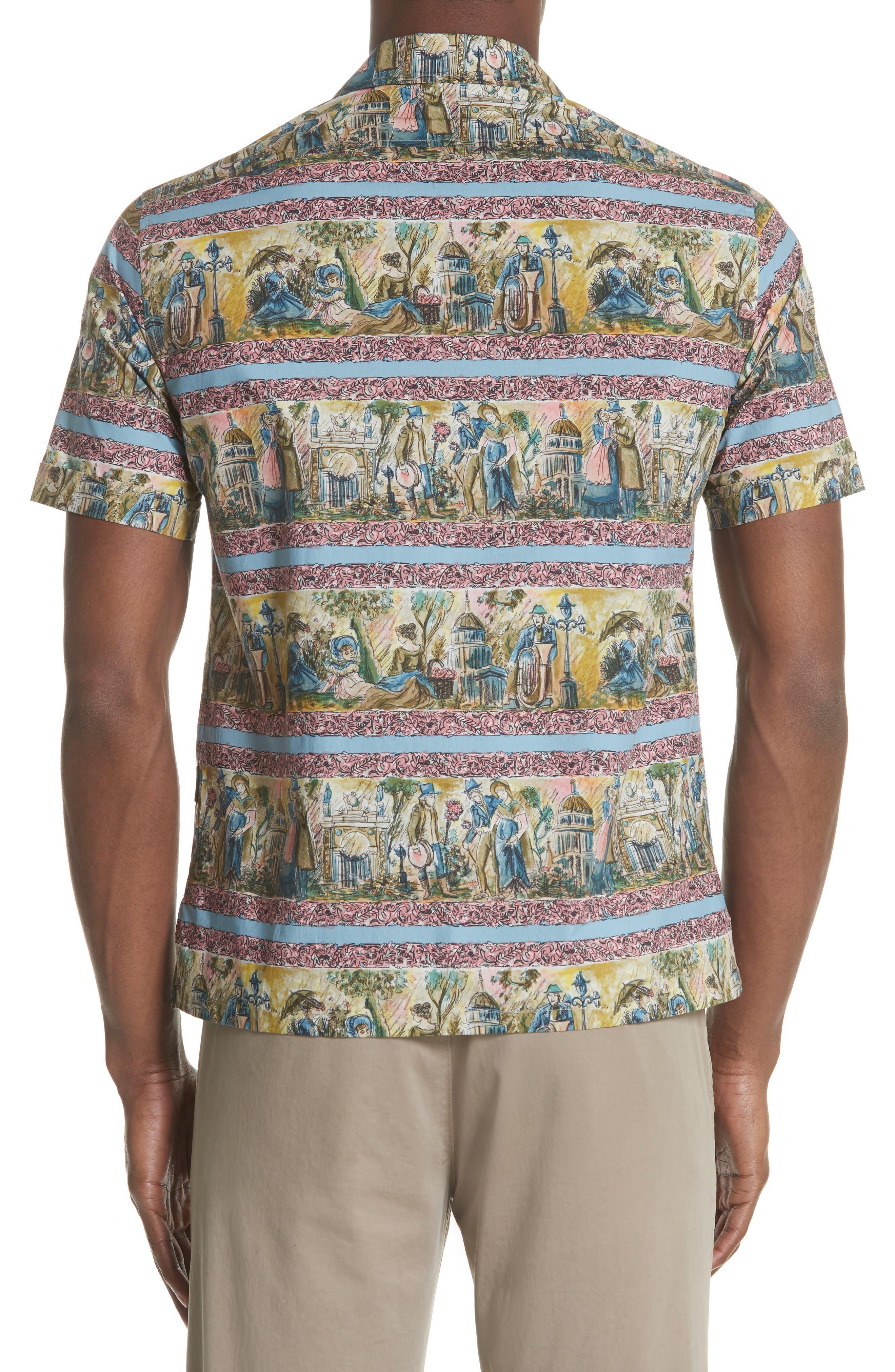 Jude Print Shirt,                             Alternate thumbnail 3, color,                             Turquoise Green