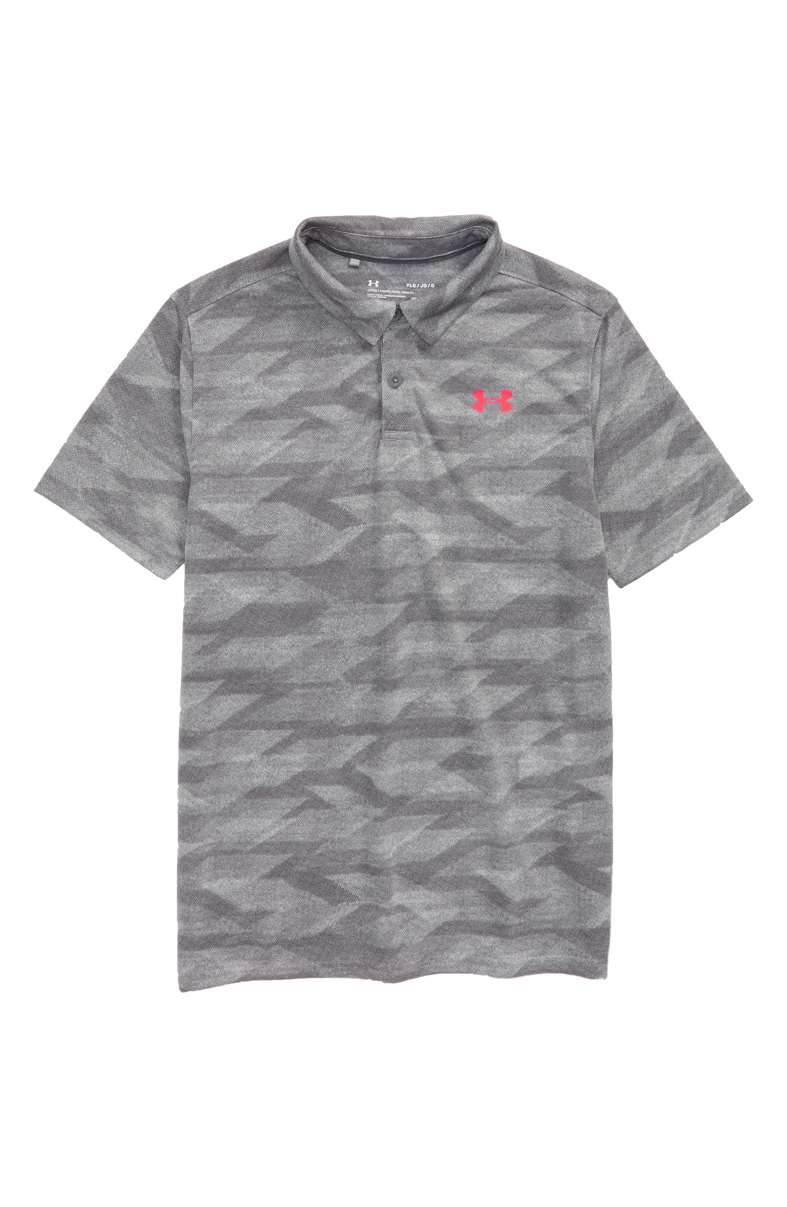 Threadborne Polo,                         Main,                         color, Zinc Gray/ Neon Coral