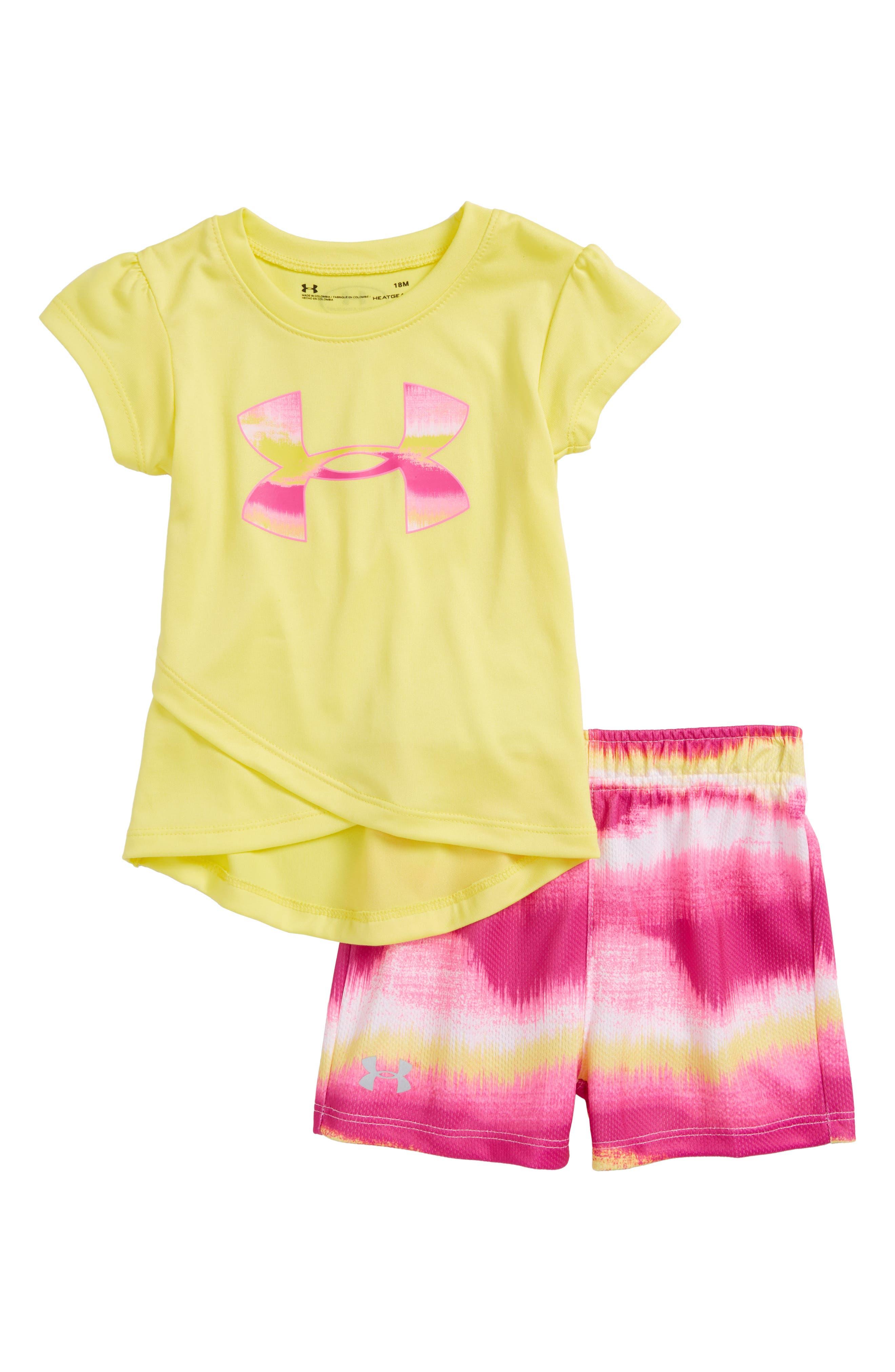 Horizon Logo HeatGear<sup>®</sup> Tank & Mesh Shorts Set,                             Main thumbnail 1, color,                             Tokyo Lemon
