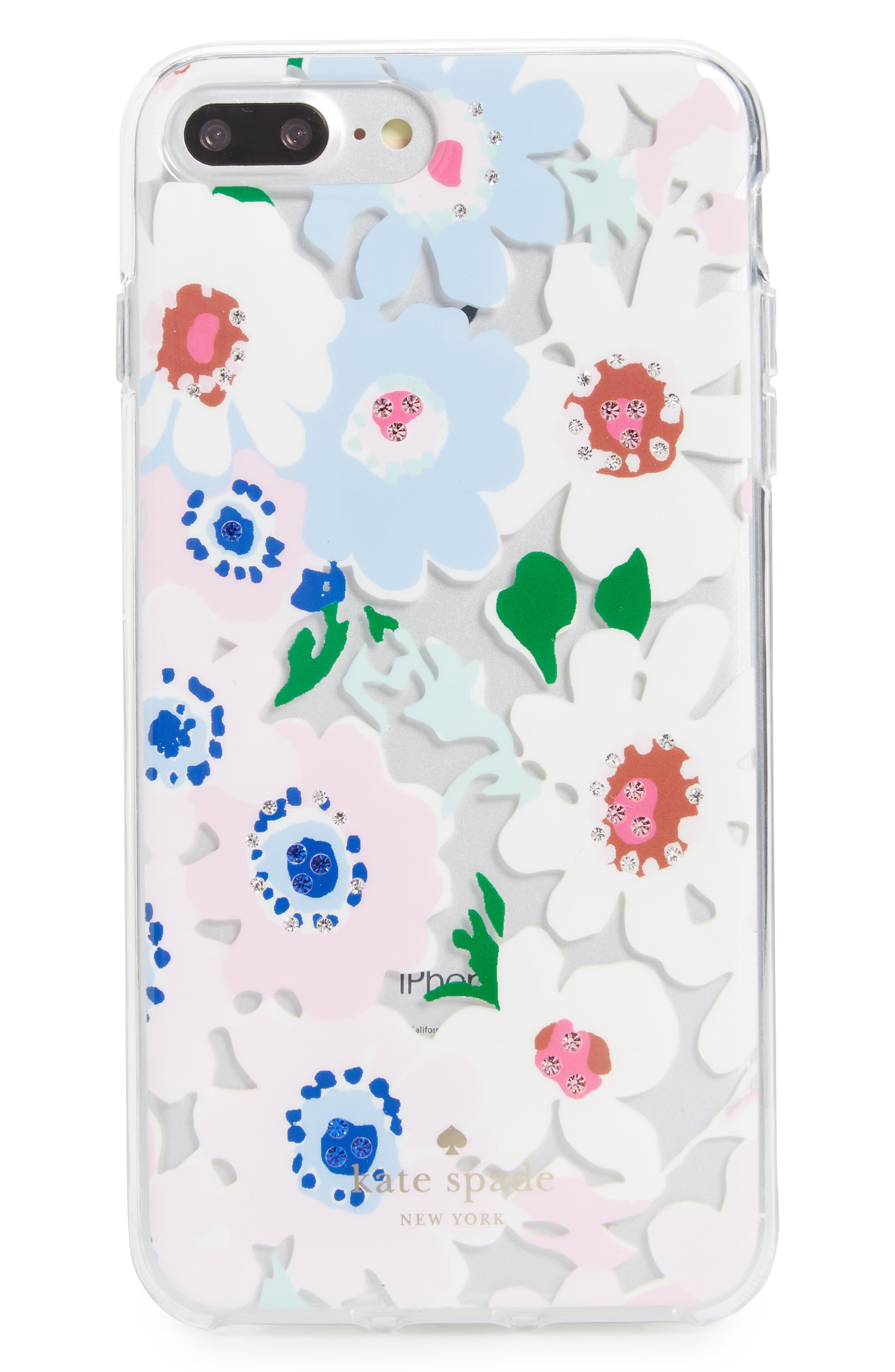 jewel daisy garden iPhone 7/8 & 7/8 Plus case,                         Main,                         color, Clear Multi