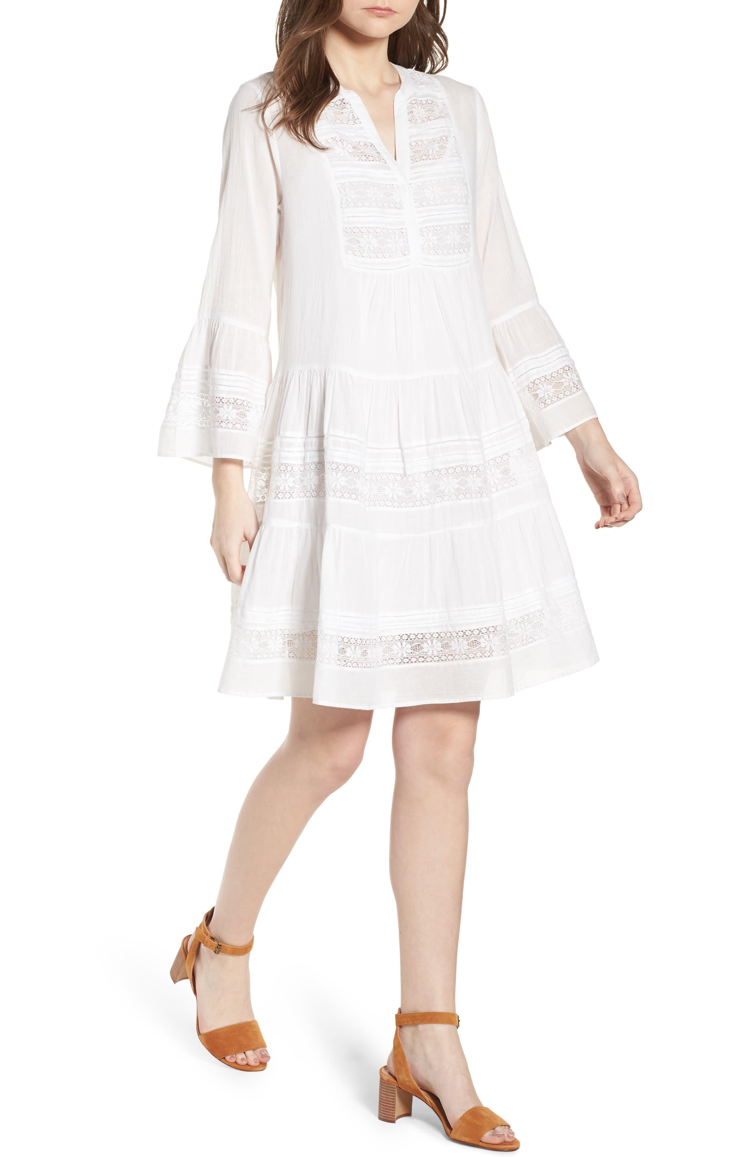Lace Inset Cotton Gauze Dress,                         Main,                         color, White