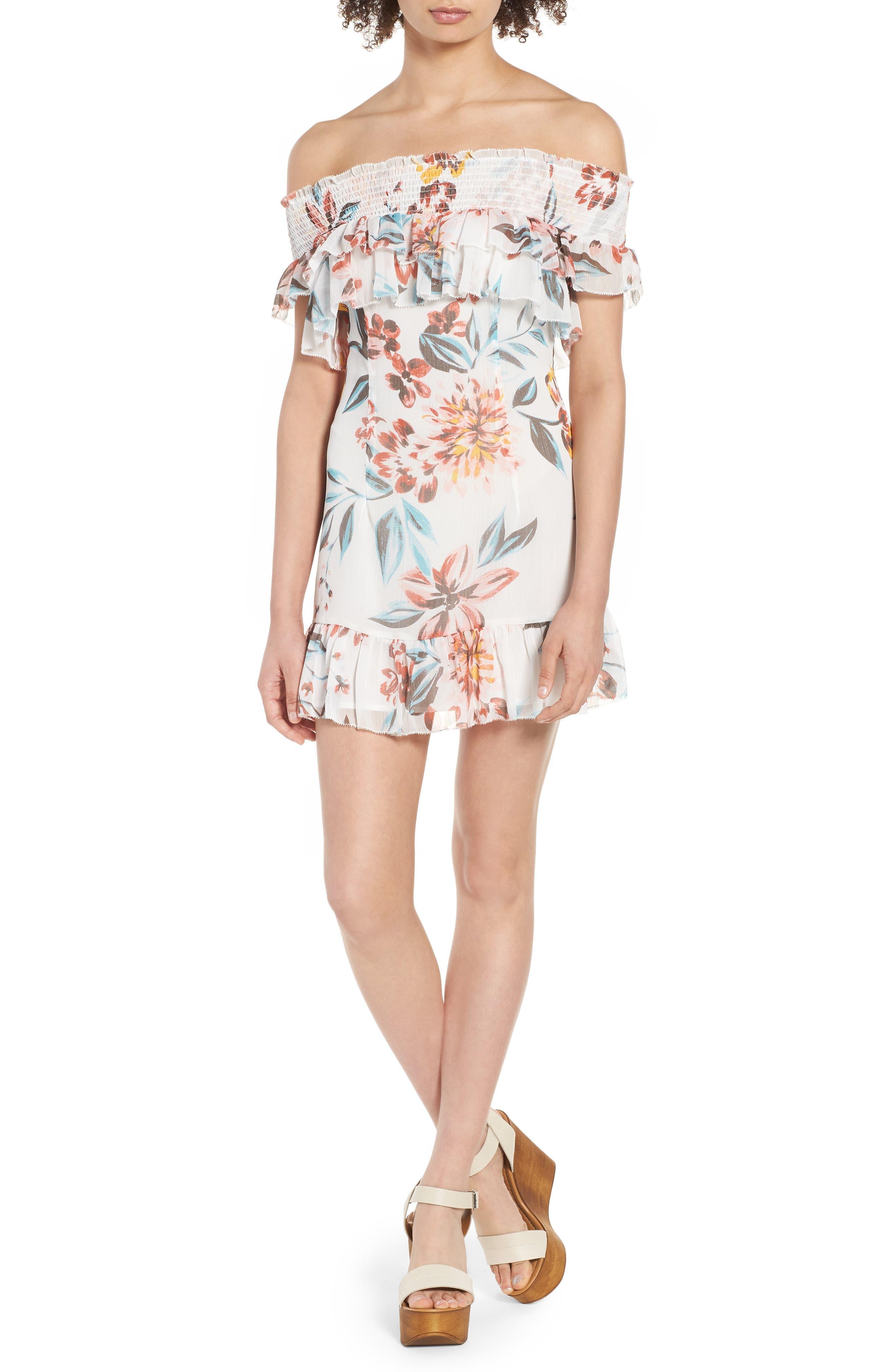 Lanzo Off the Shoulder Dress,                         Main,                         color, Dahlia Floral