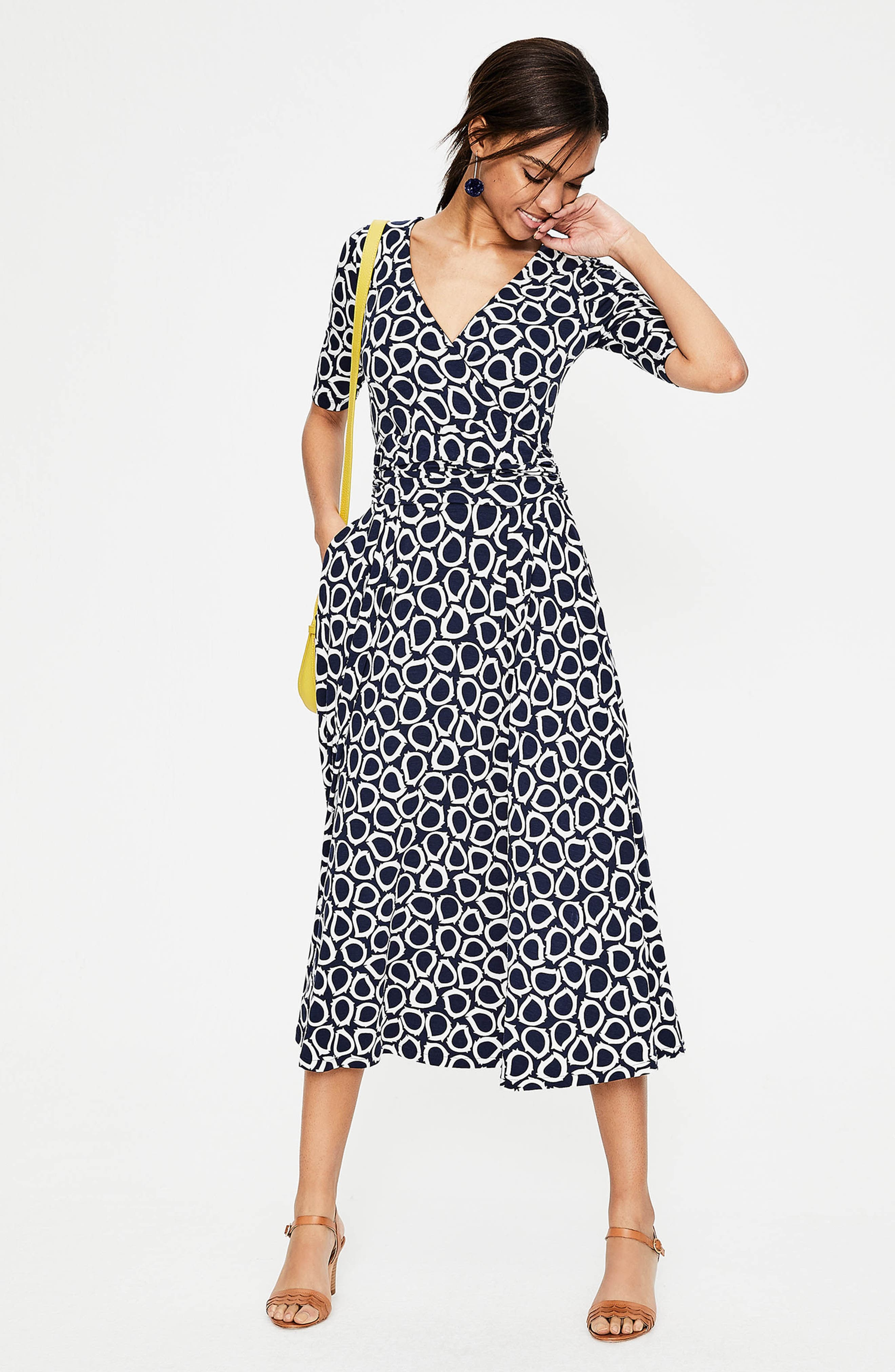 Kassidy Print Jersey Midi Dress,                             Alternate thumbnail 6, color,                             Navy Summer Leaves