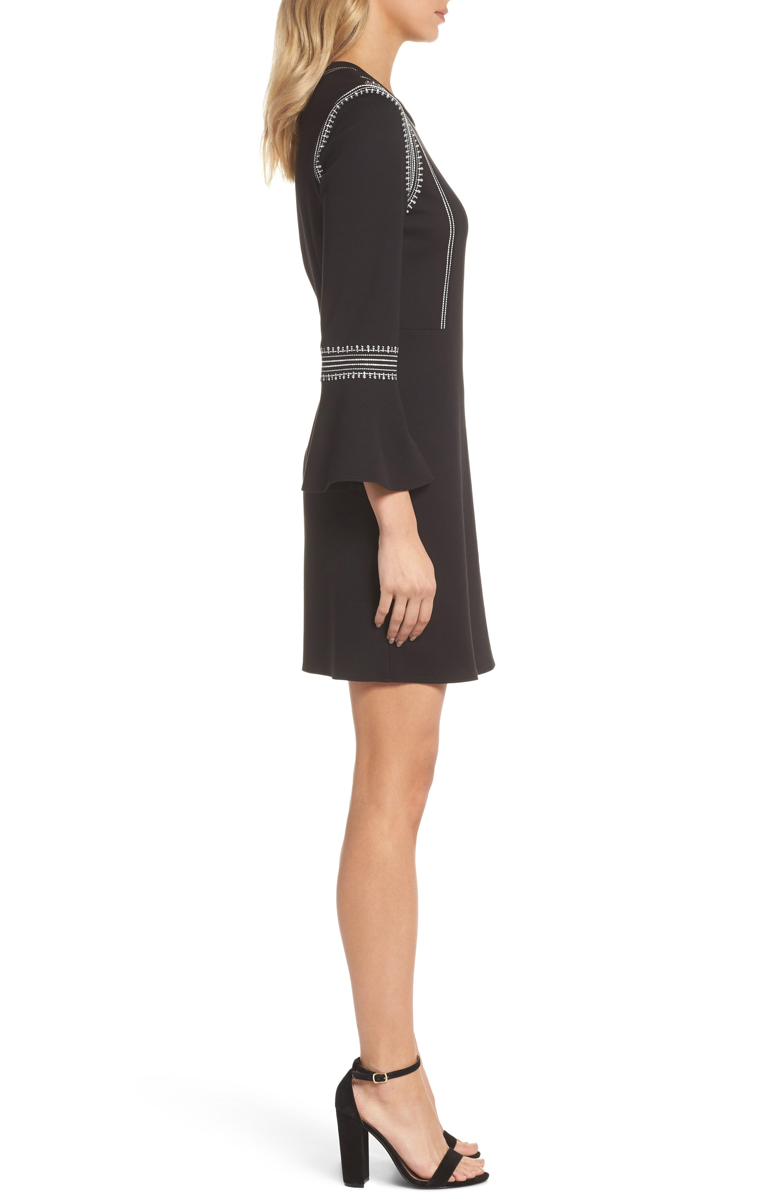 Danielle Embroidered Bell Sleeve Knit Dress,                             Alternate thumbnail 3, color,                             Black