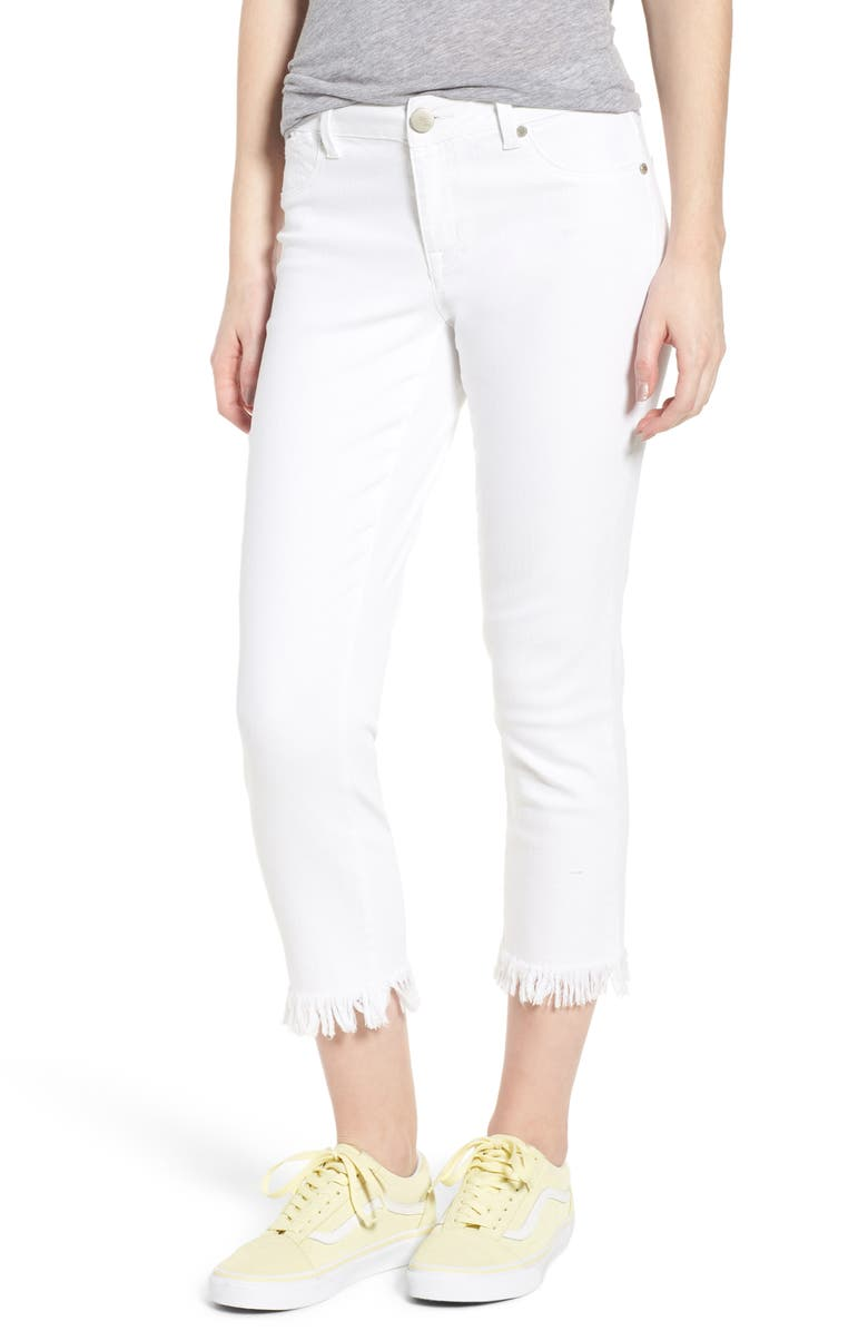 Fray Hem Crop Straight Leg Jeans