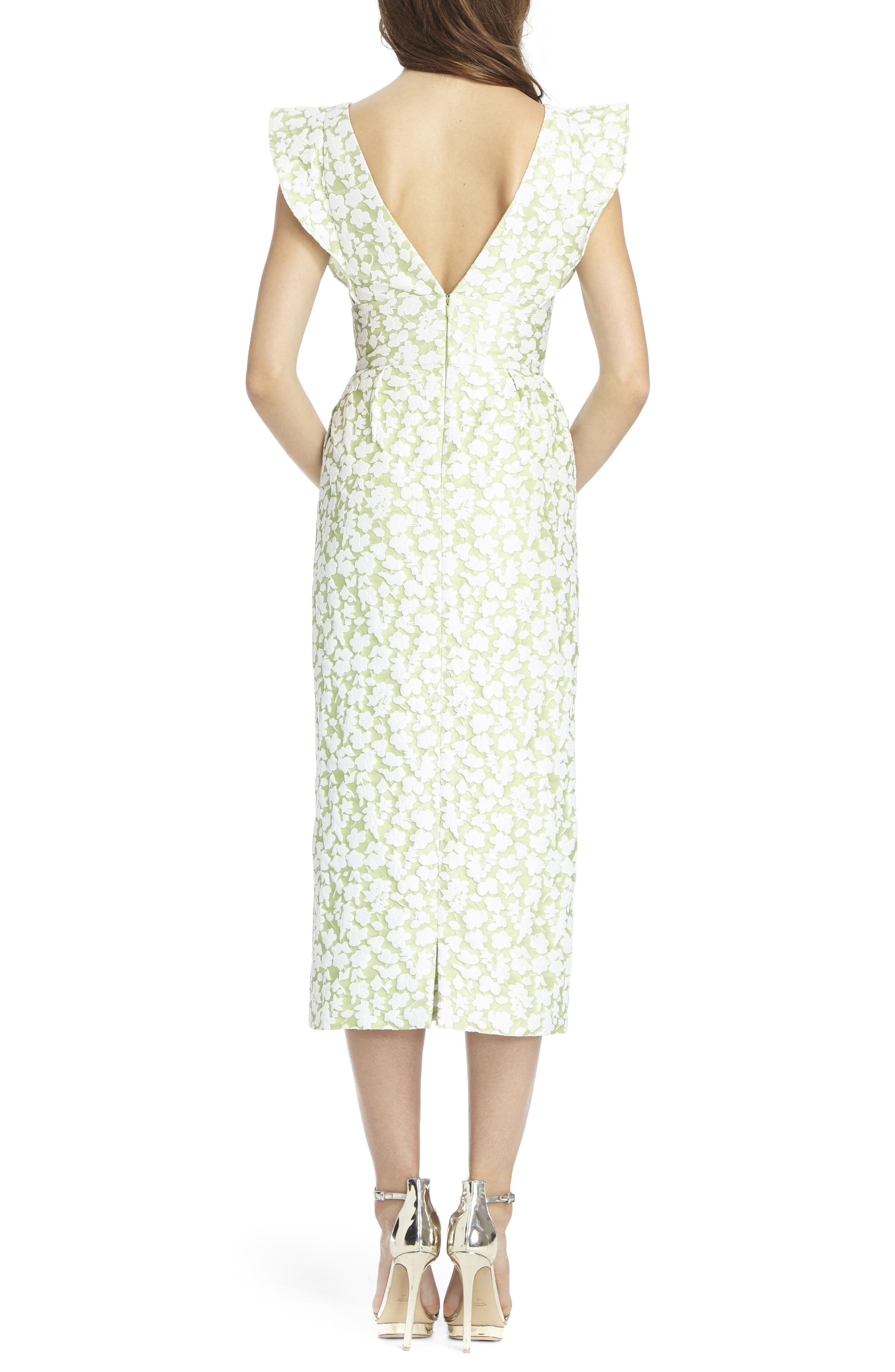 Floral Jacquard Sheath Dress,                             Alternate thumbnail 2, color,                             Honeydew