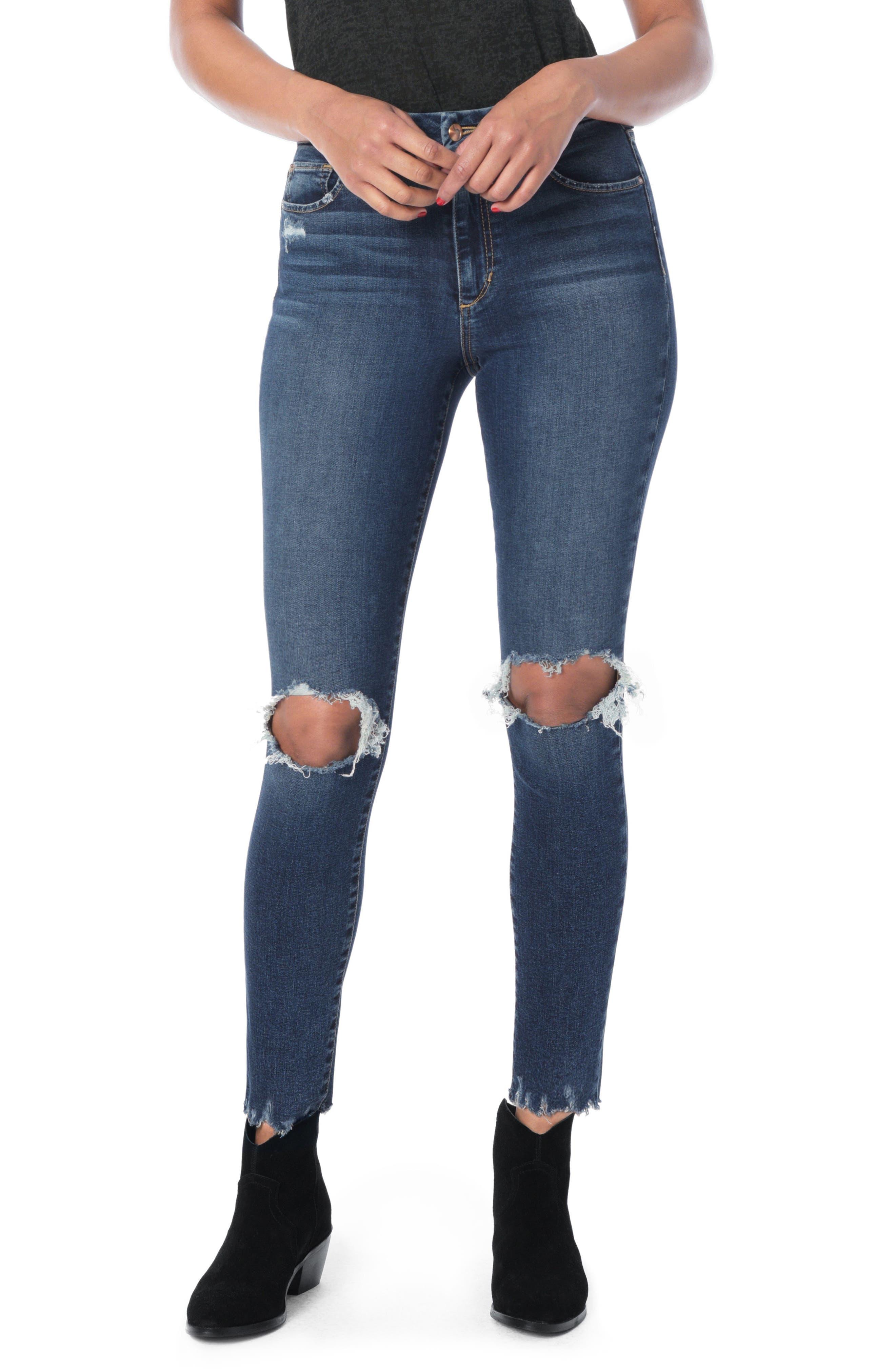 Honey Curvy High Waist Ankle Skinny Jeans,                             Main thumbnail 1, color,                             Rocky