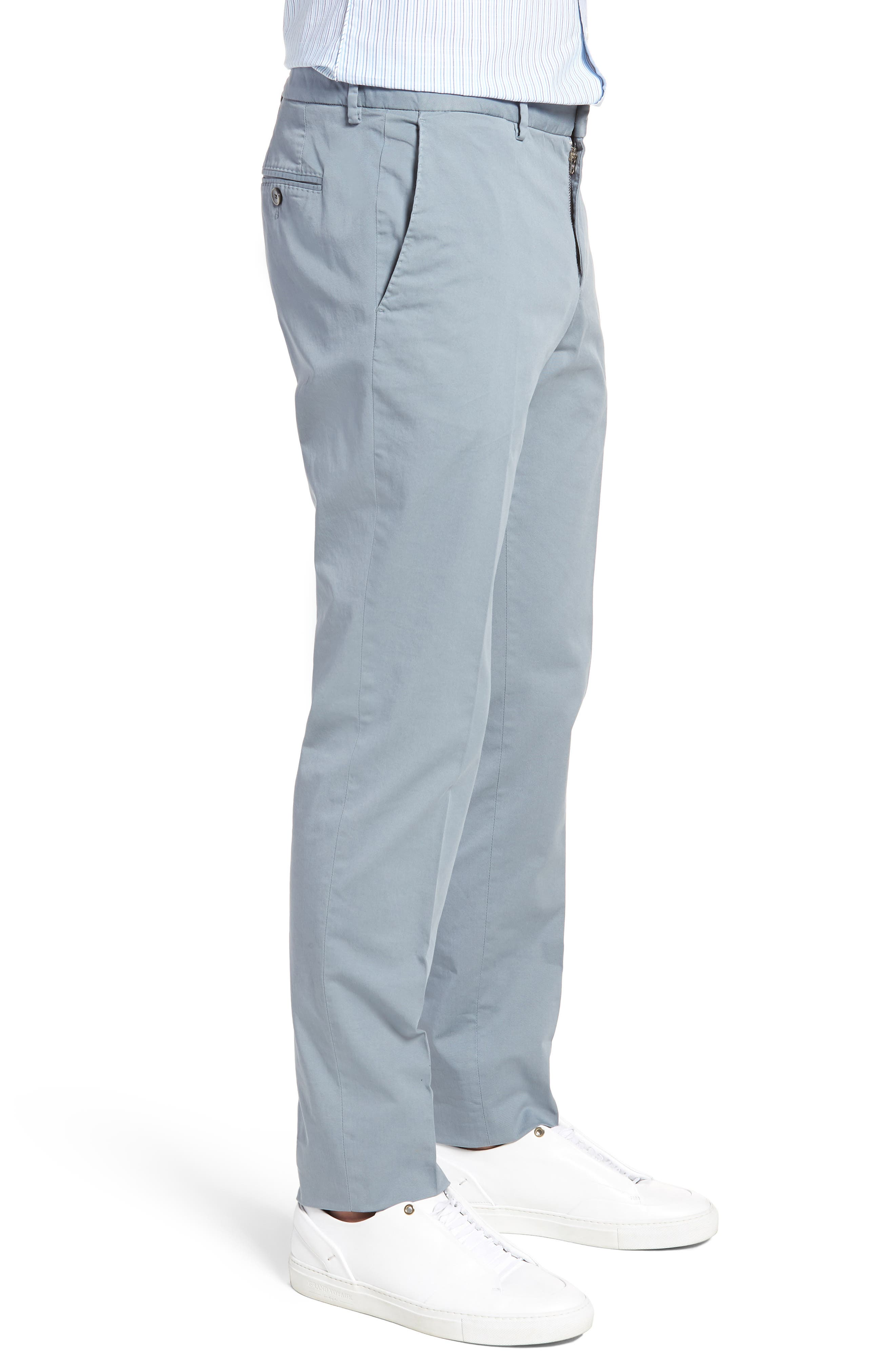 Barlow-D Flat Front Stretch Solid Cotton Trousers,                             Alternate thumbnail 3, color,                             Blue