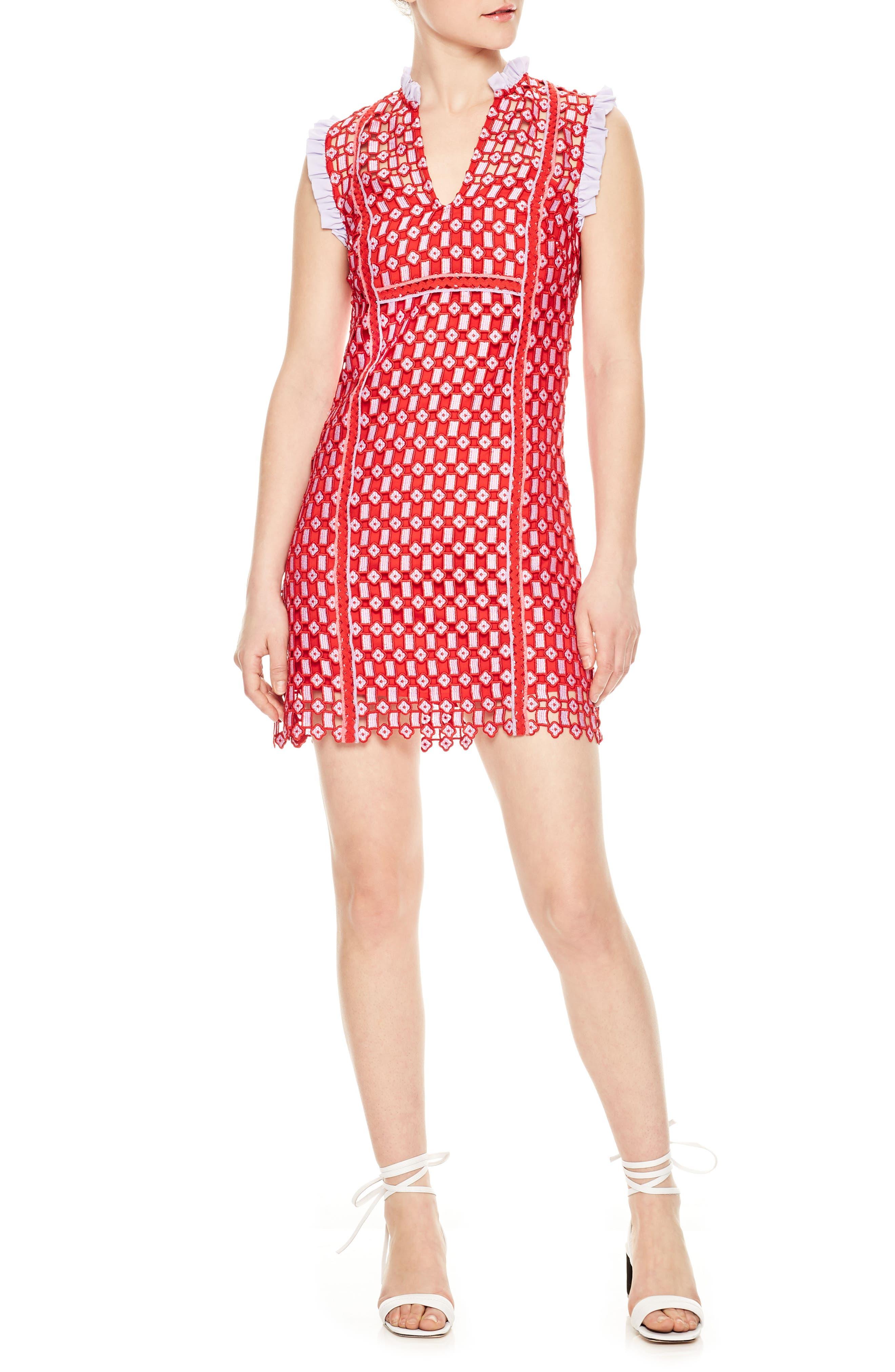 Textured Lace Split Neck Dress,                             Main thumbnail 1, color,                             Red