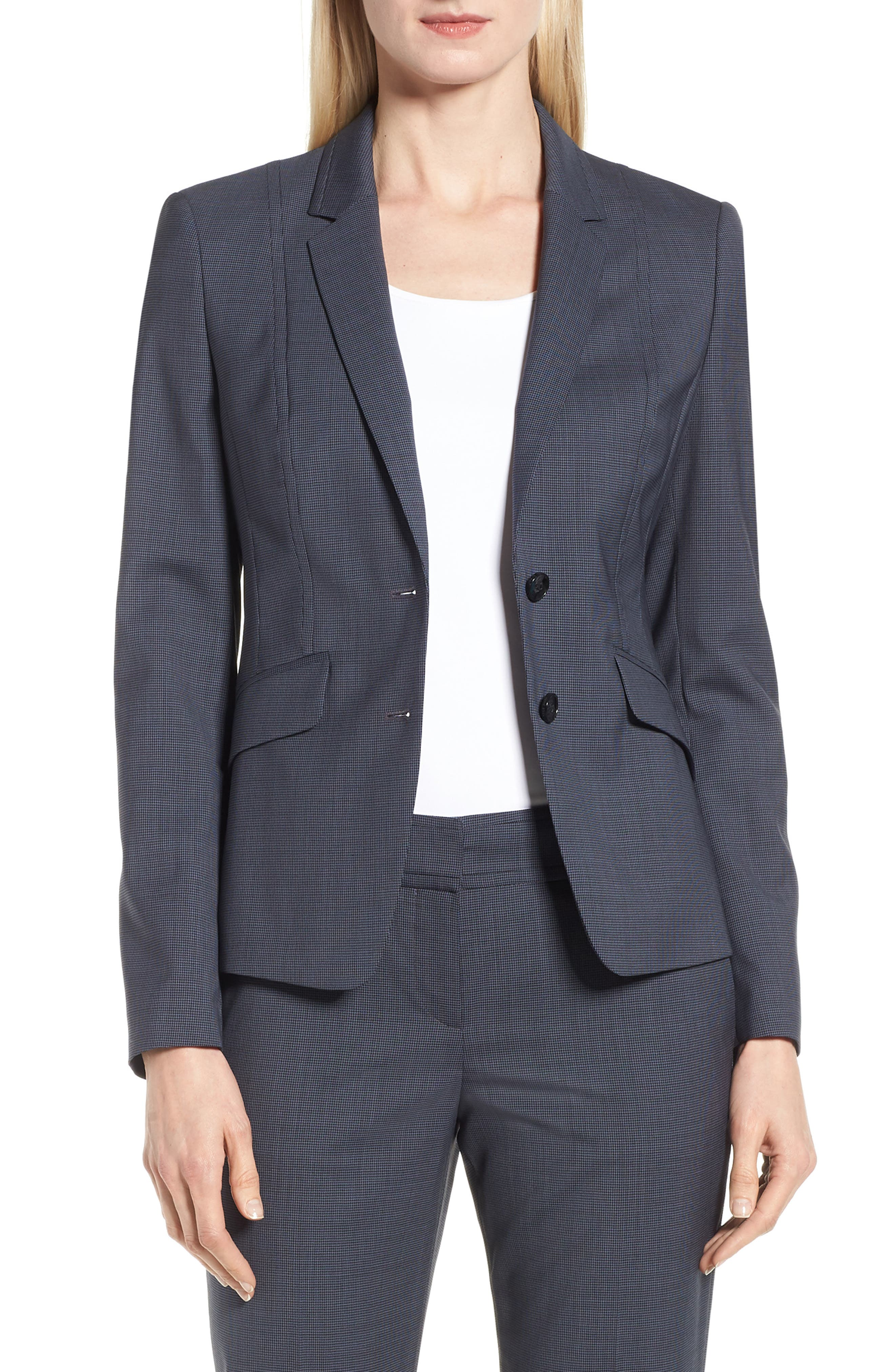 BOSS Jalouise Pepita Stretch Wool Suit Jacket (Regular & Petite)