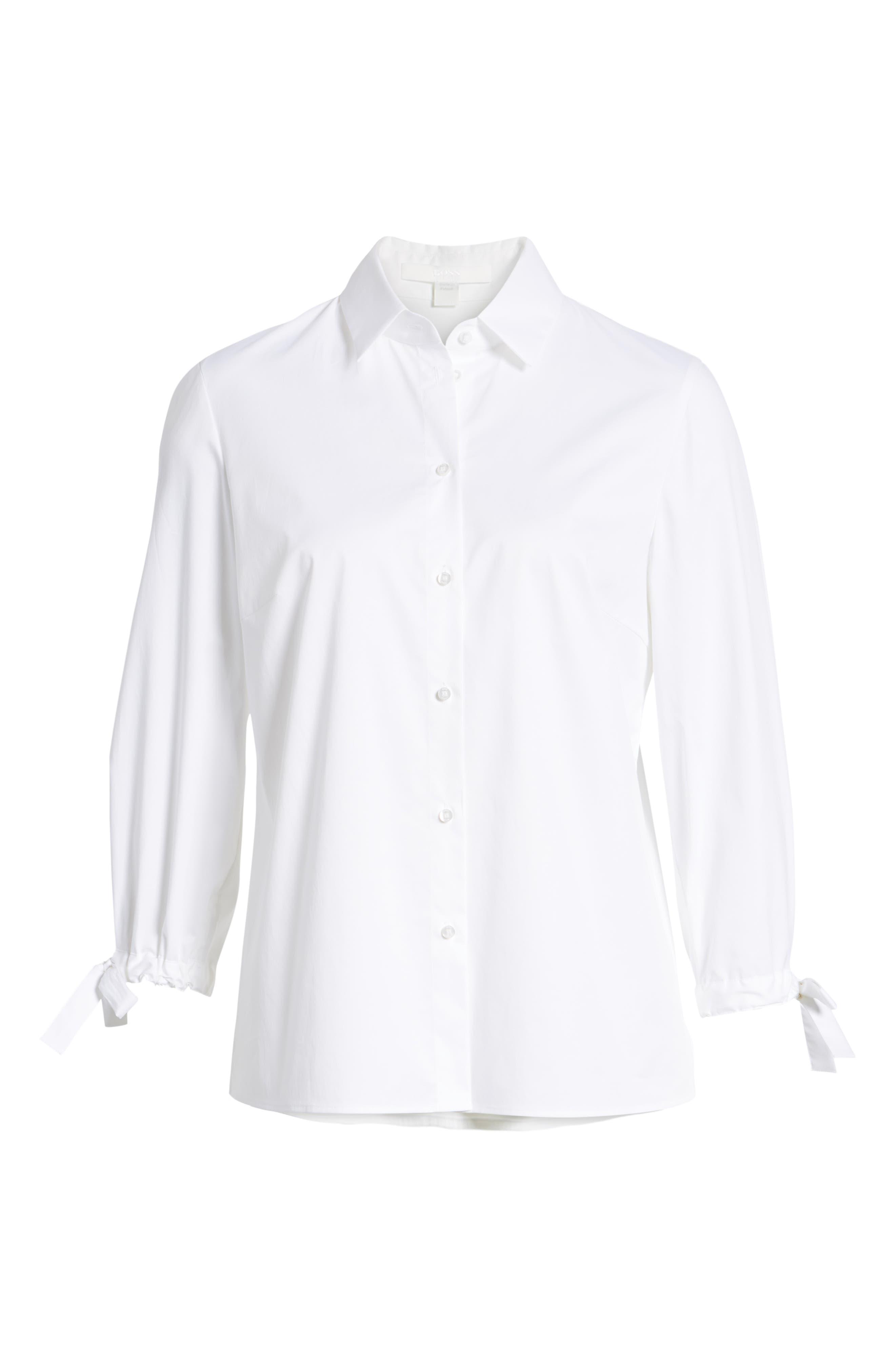 Biulepa Stretch Cotton Tie Sleeve Top,                             Alternate thumbnail 6, color,                             White