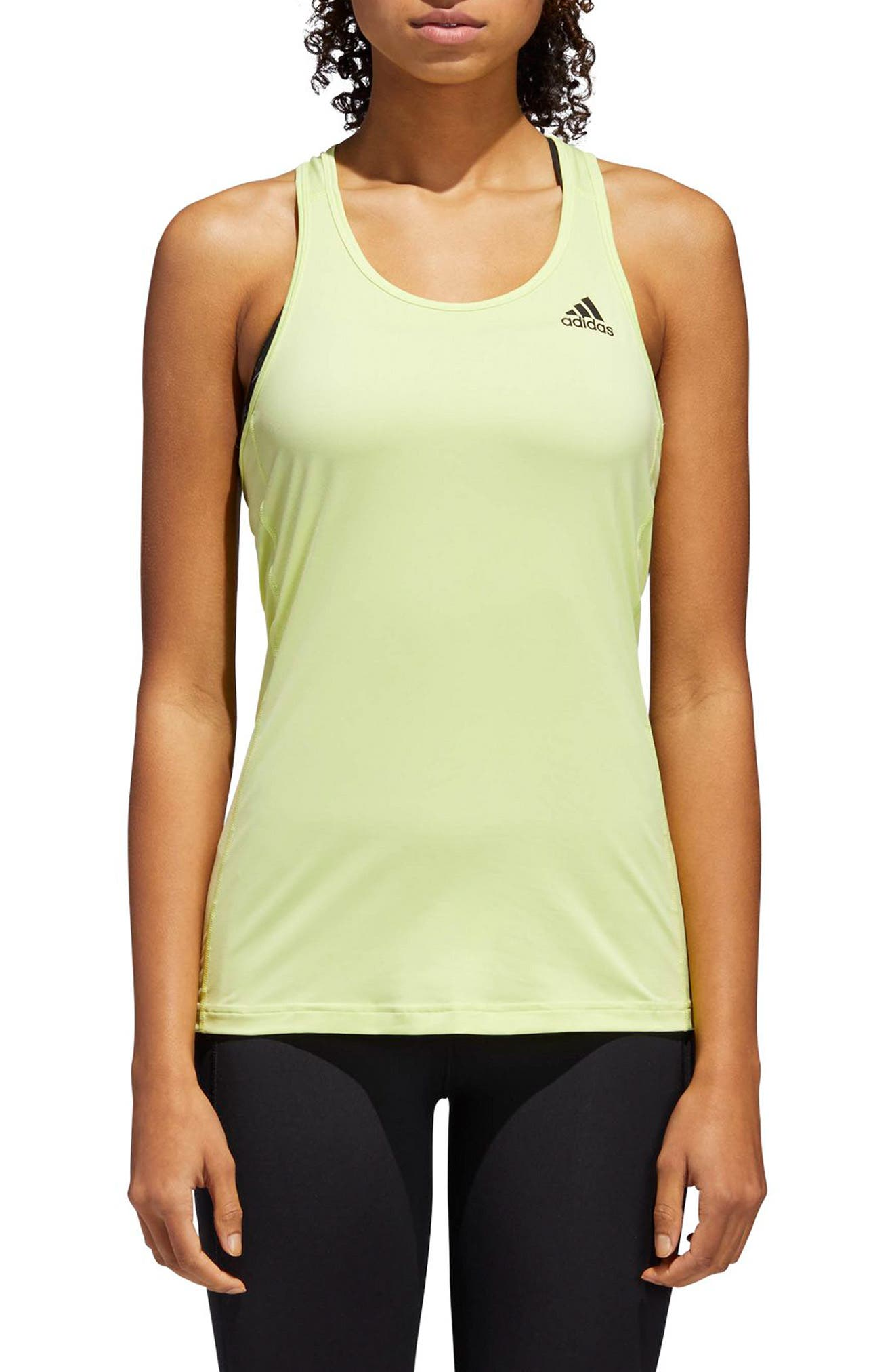 Performer Baseline Tank Top,                         Main,                         color, Semi Frozen Yellow/ Black