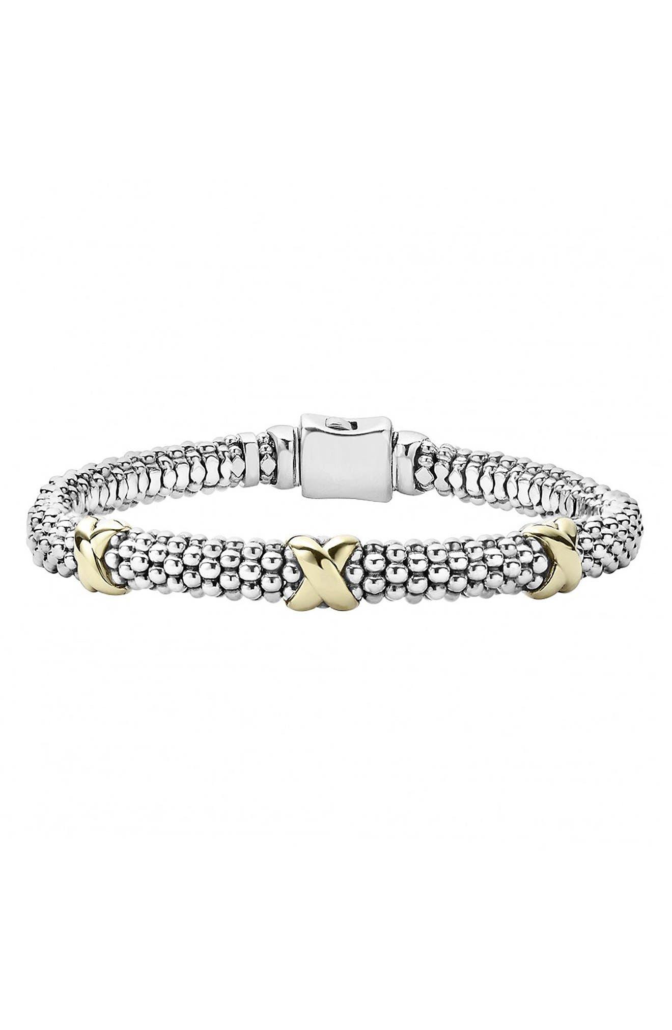 'Signature Caviar' Two-Tone Mini Oval Rope Bracelet,                             Main thumbnail 1, color,                             Silver/ Gold
