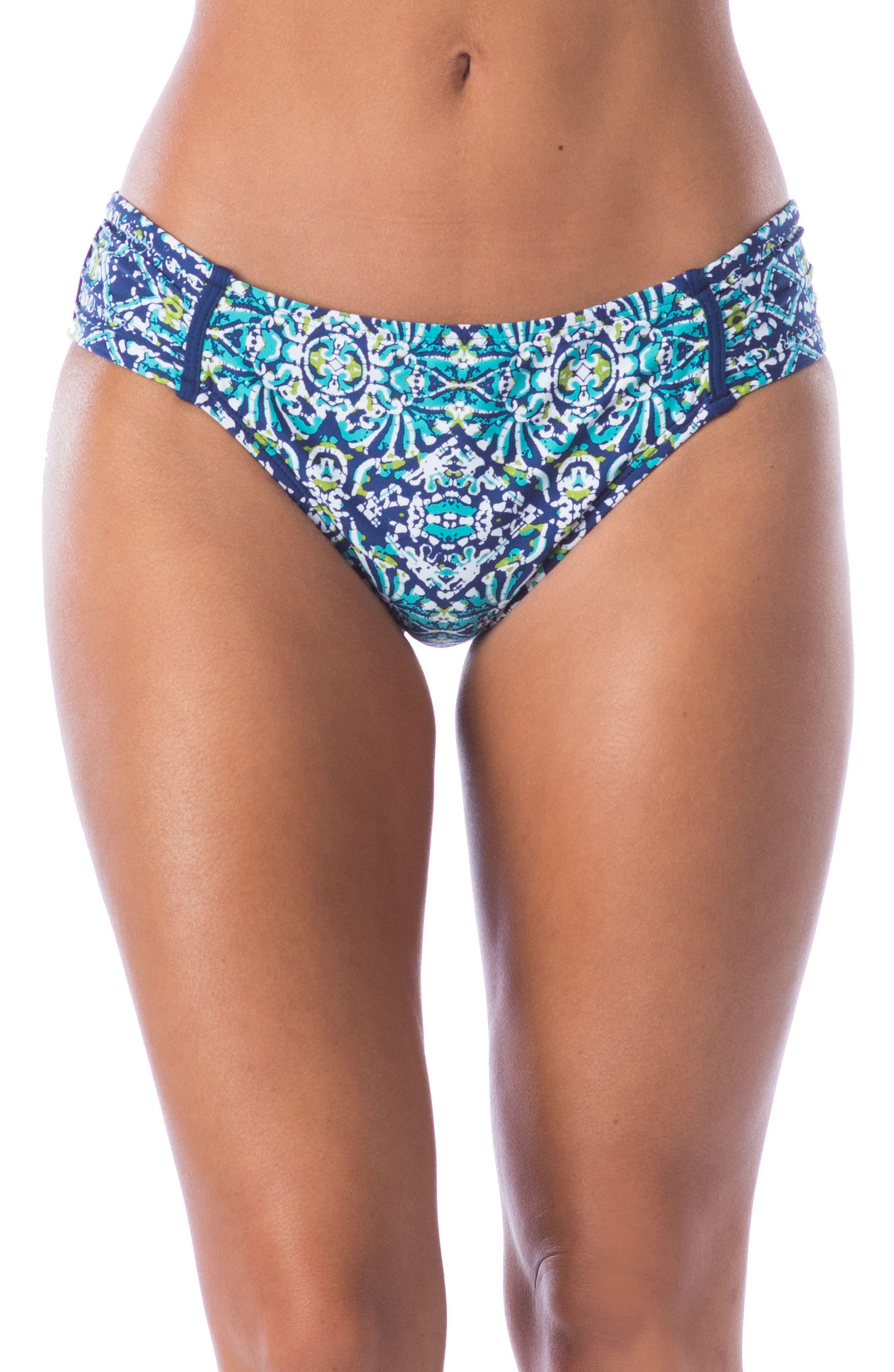 Tuvalu Side Shirred Hipster Bikini Bottoms,                             Main thumbnail 1, color,                             Blue