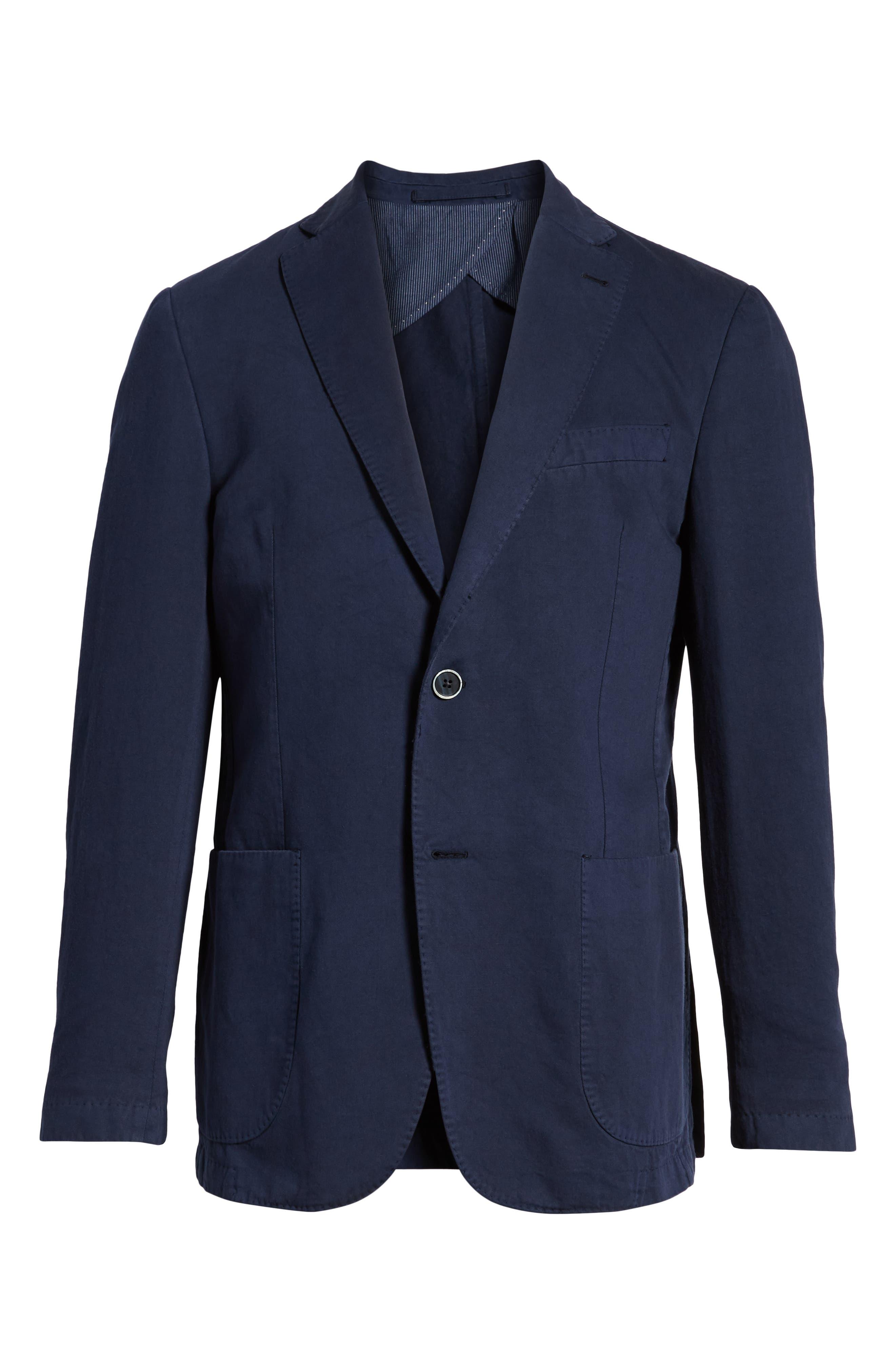 Unstructured Cotton & Linen Blazer,                             Alternate thumbnail 6, color,                             Navy