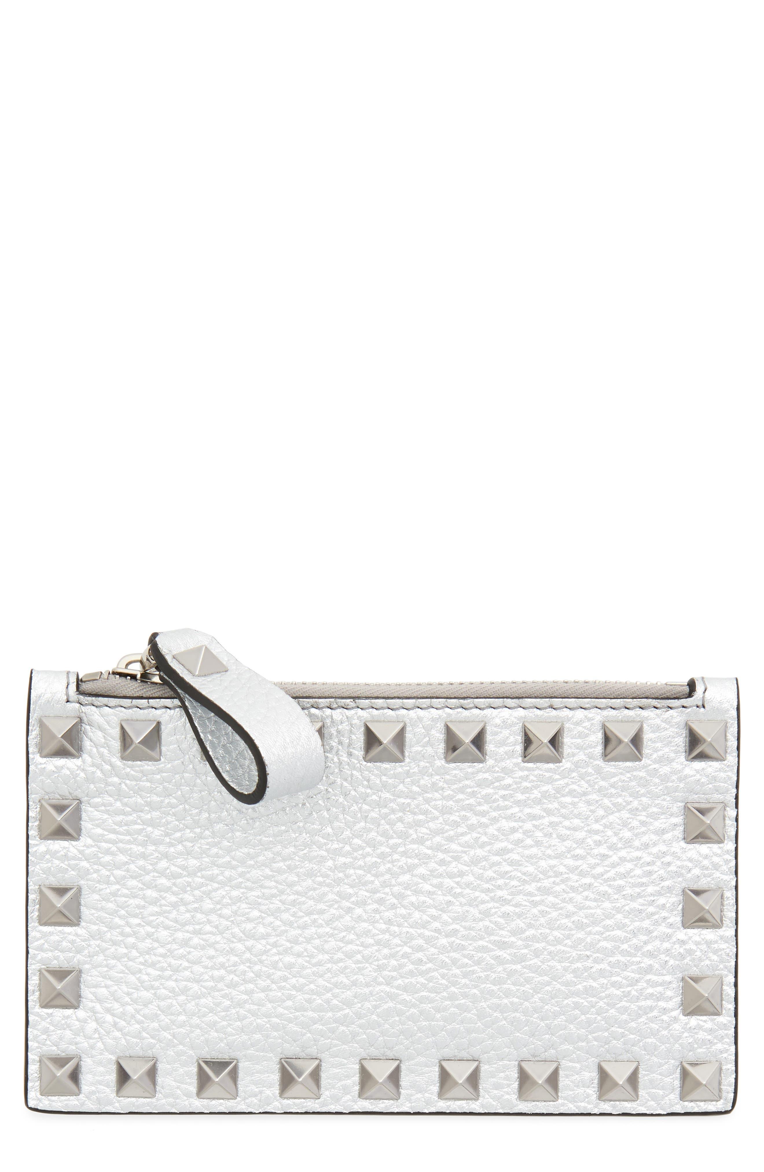 Rockstud Leather Zip Card Case,                         Main,                         color, Silver