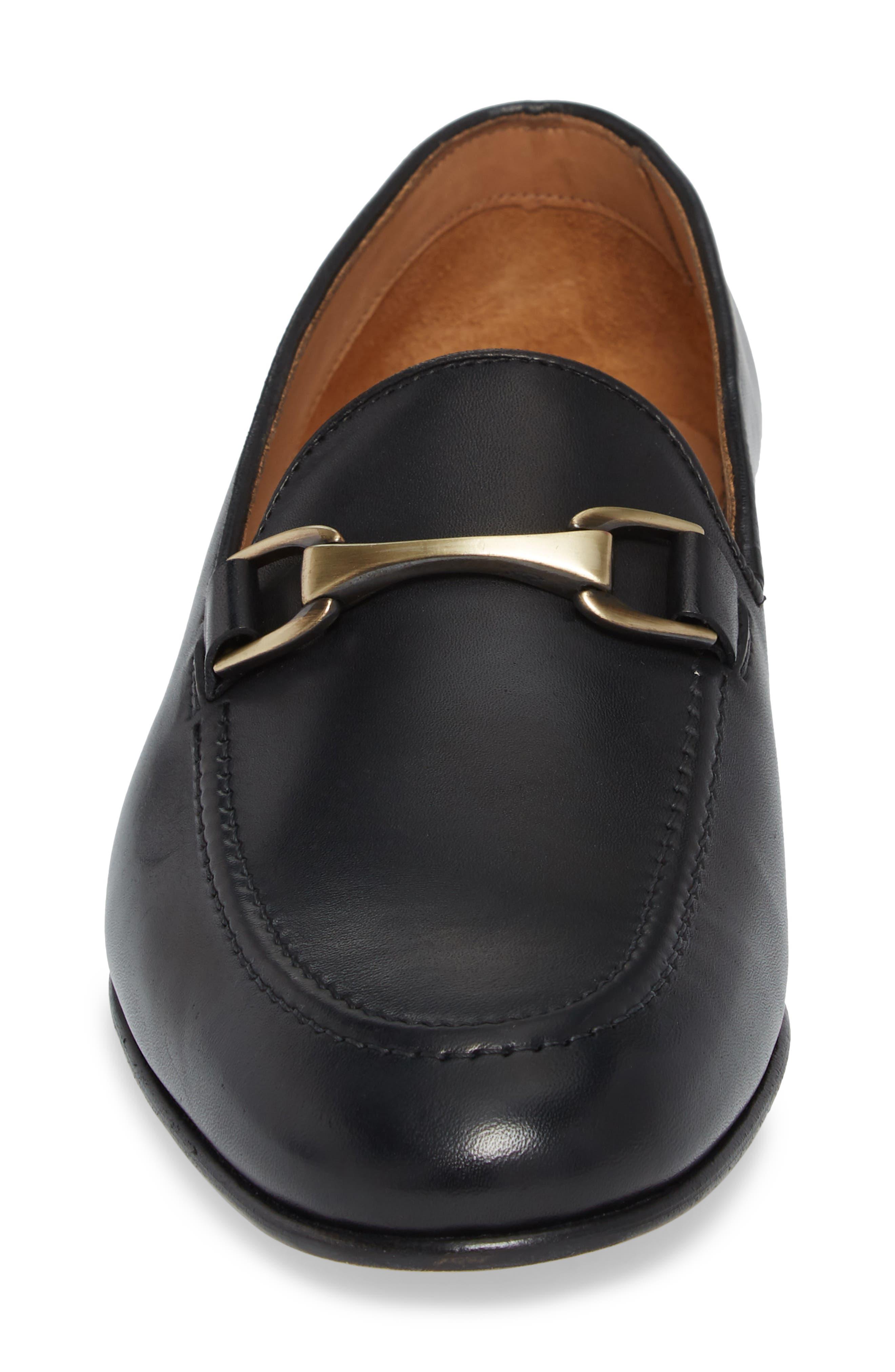 'Borcelo' Bit Loafer,                             Alternate thumbnail 4, color,                             Black Leather