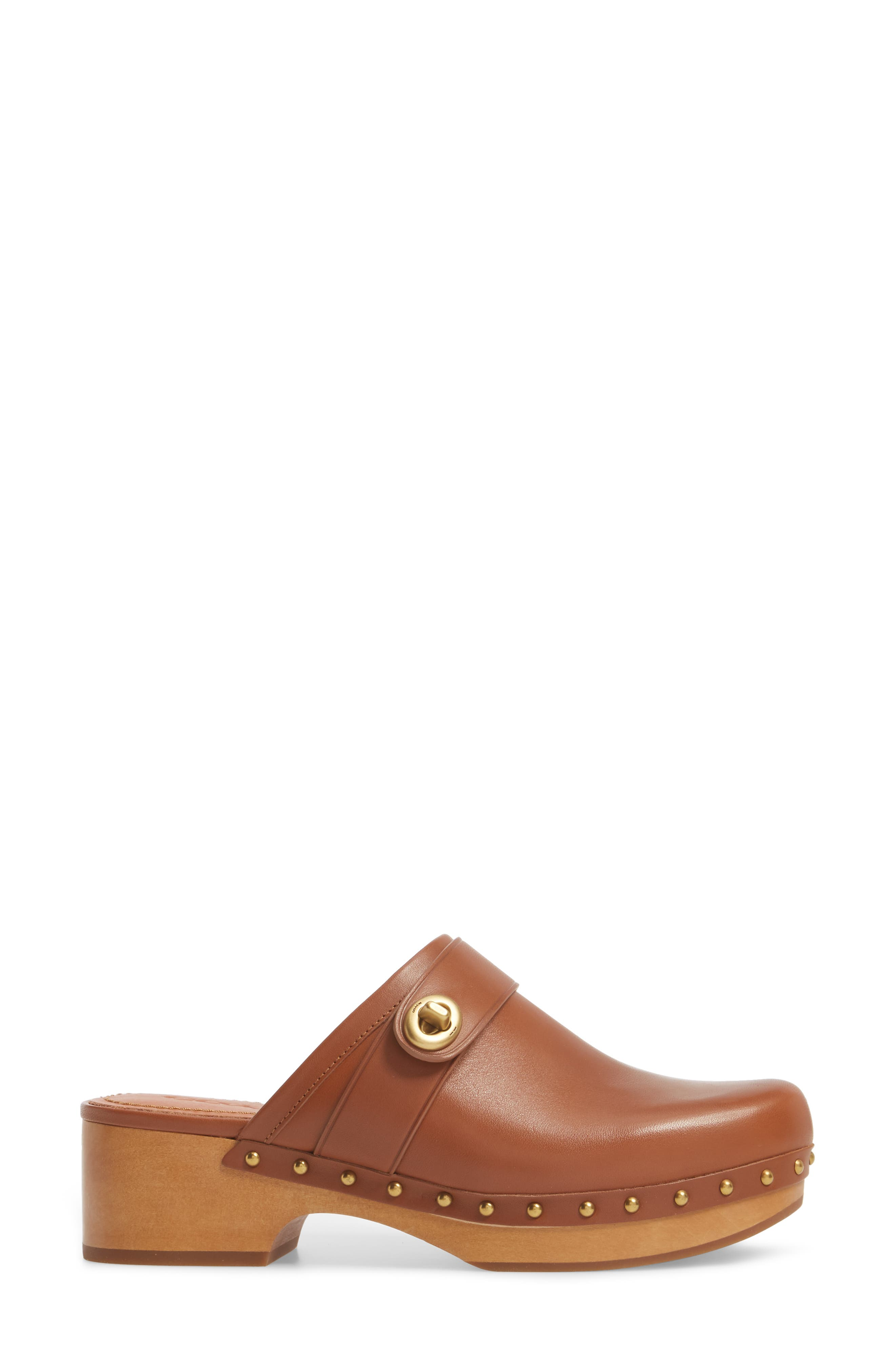 Turnlock Clog,                             Alternate thumbnail 3, color,                             Saddle Leather