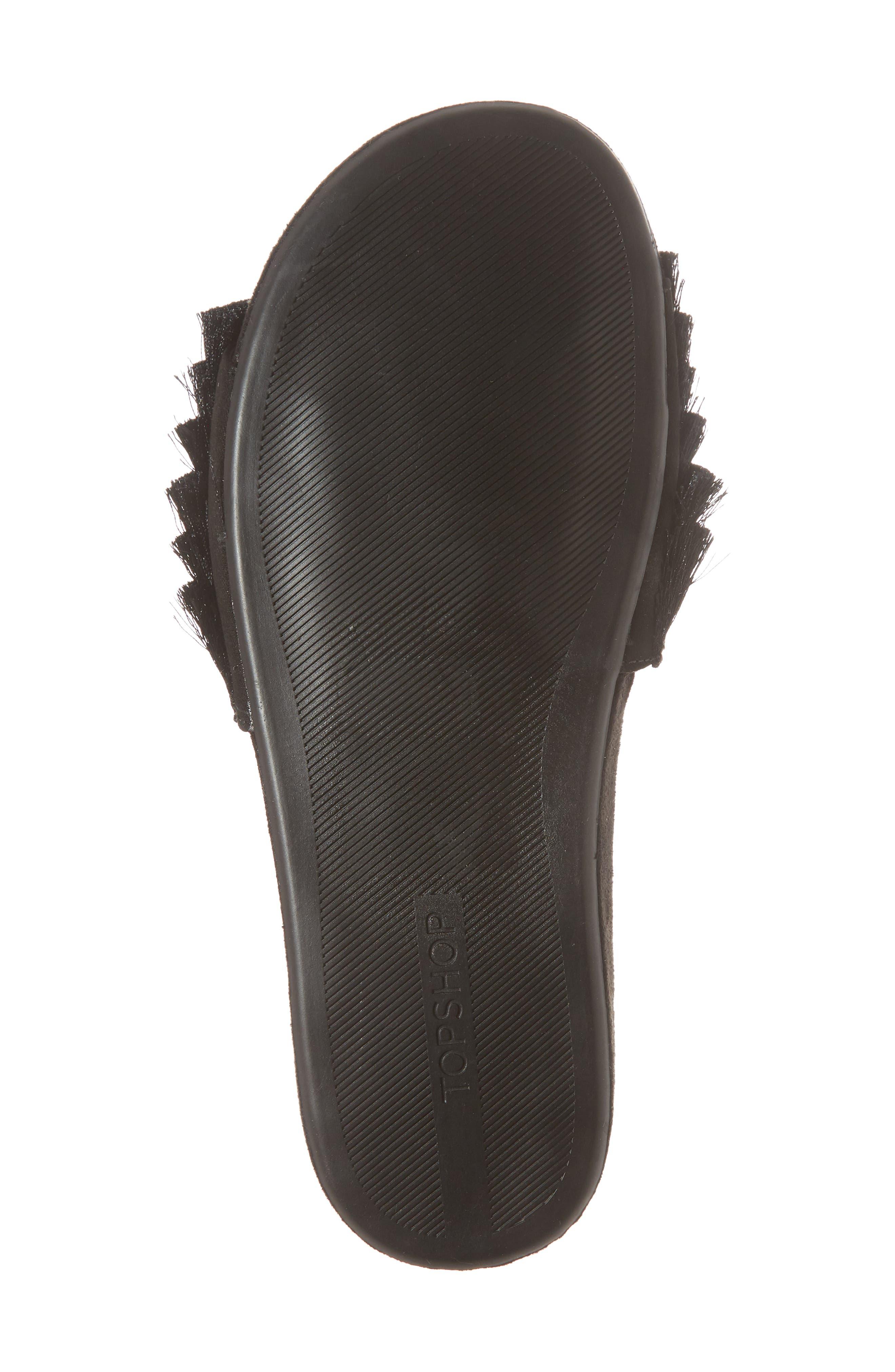Hun Fringe Slide Sandal,                             Alternate thumbnail 6, color,                             Black