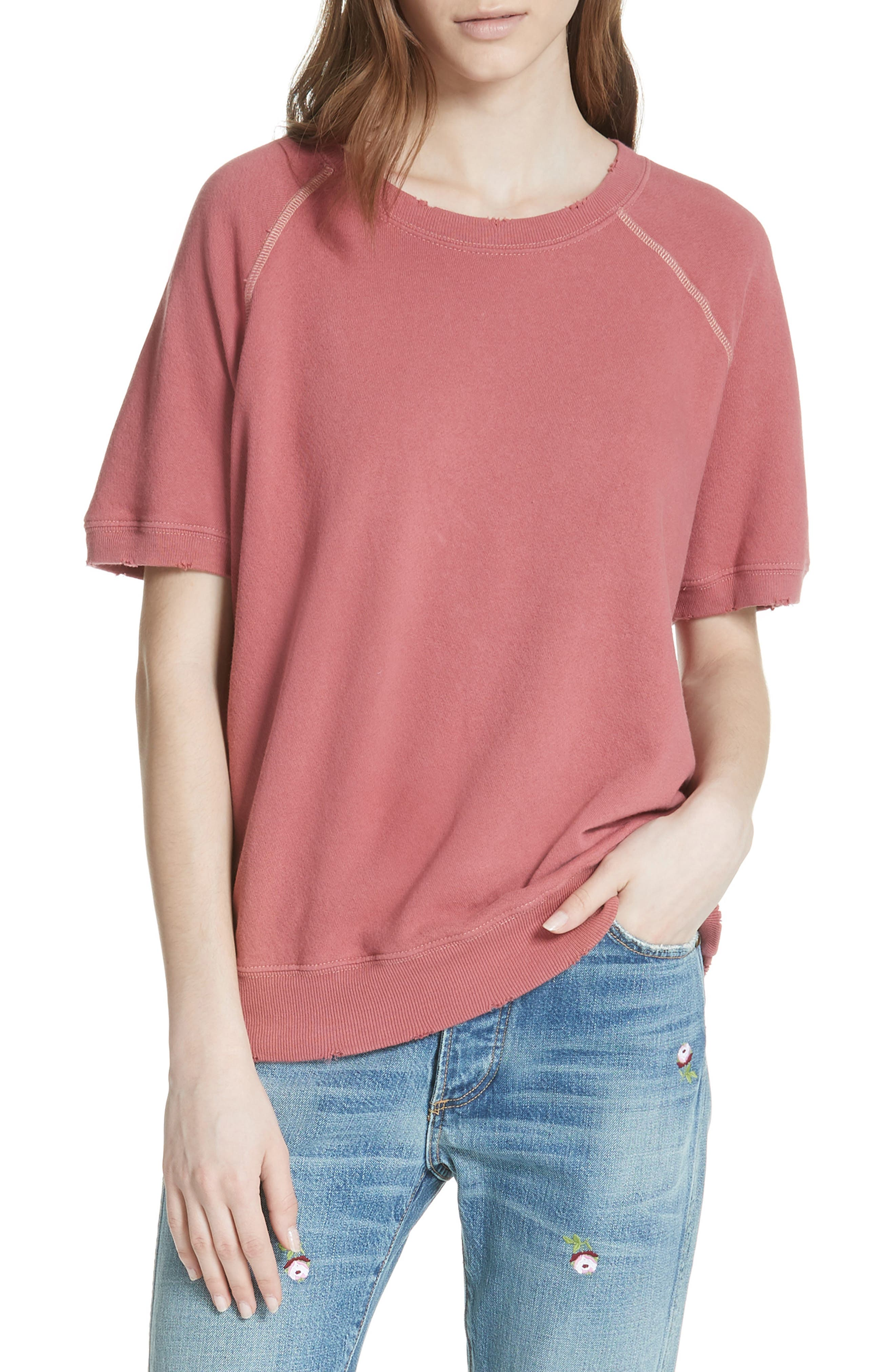 Short Sleeve Sweatshirt,                             Main thumbnail 1, color,                             Antique Red