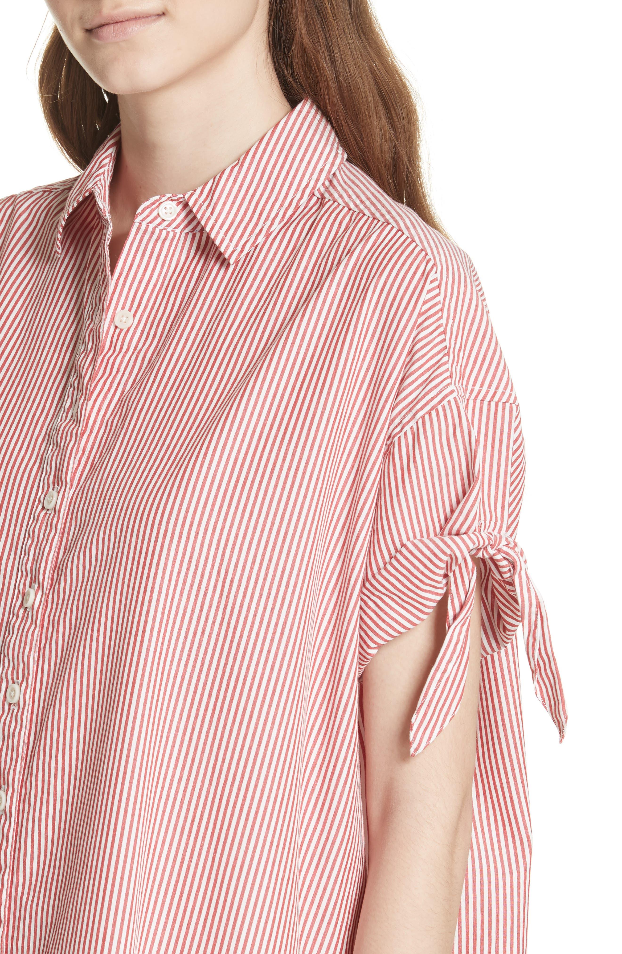 The Tie Sleeve Camper Shirtdress,                             Alternate thumbnail 4, color,                             Poppy Stripe