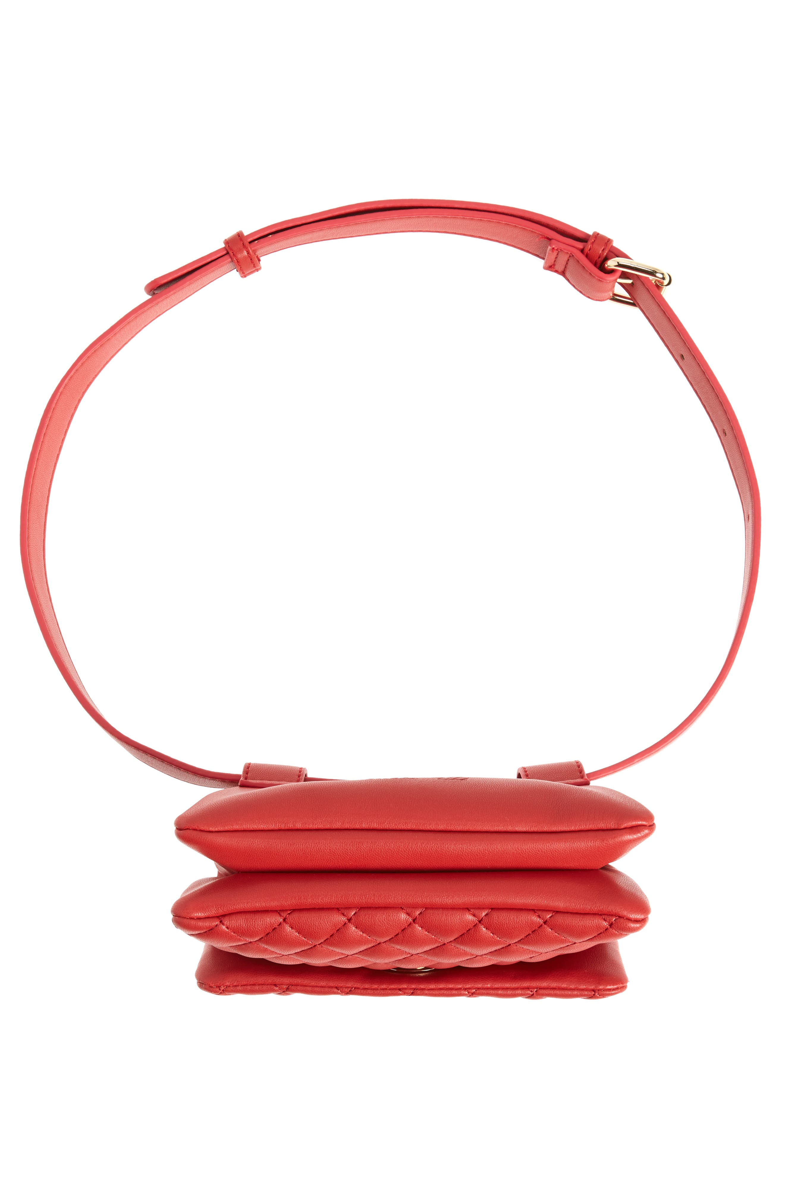 Mali + Lili Quilted Vegan Leather Convertible Belt Bag,                             Alternate thumbnail 9, color,                             Red