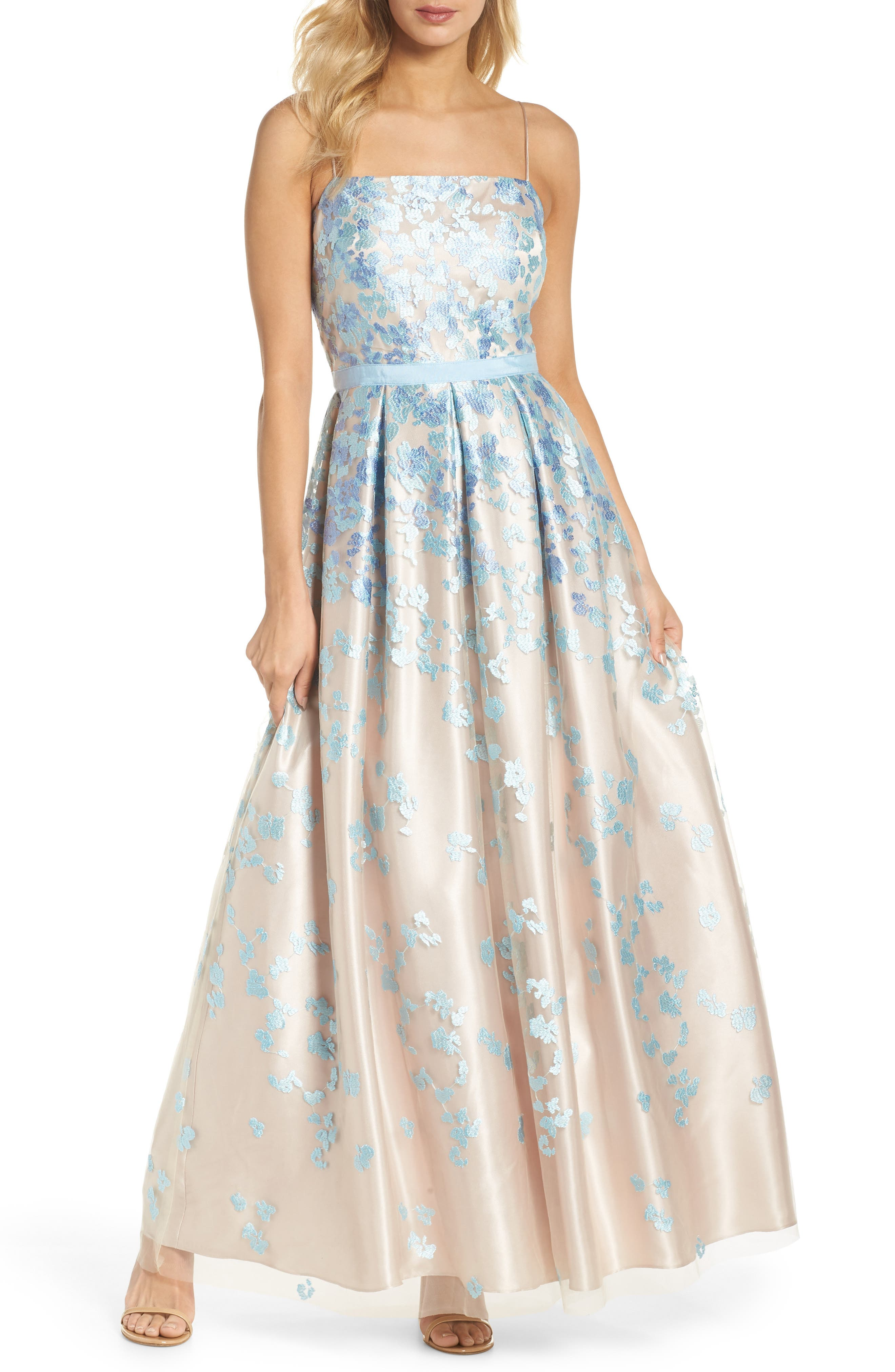 Floral Embroidered Box Pleat Ballgown,                             Main thumbnail 1, color,                             Aqua Beige