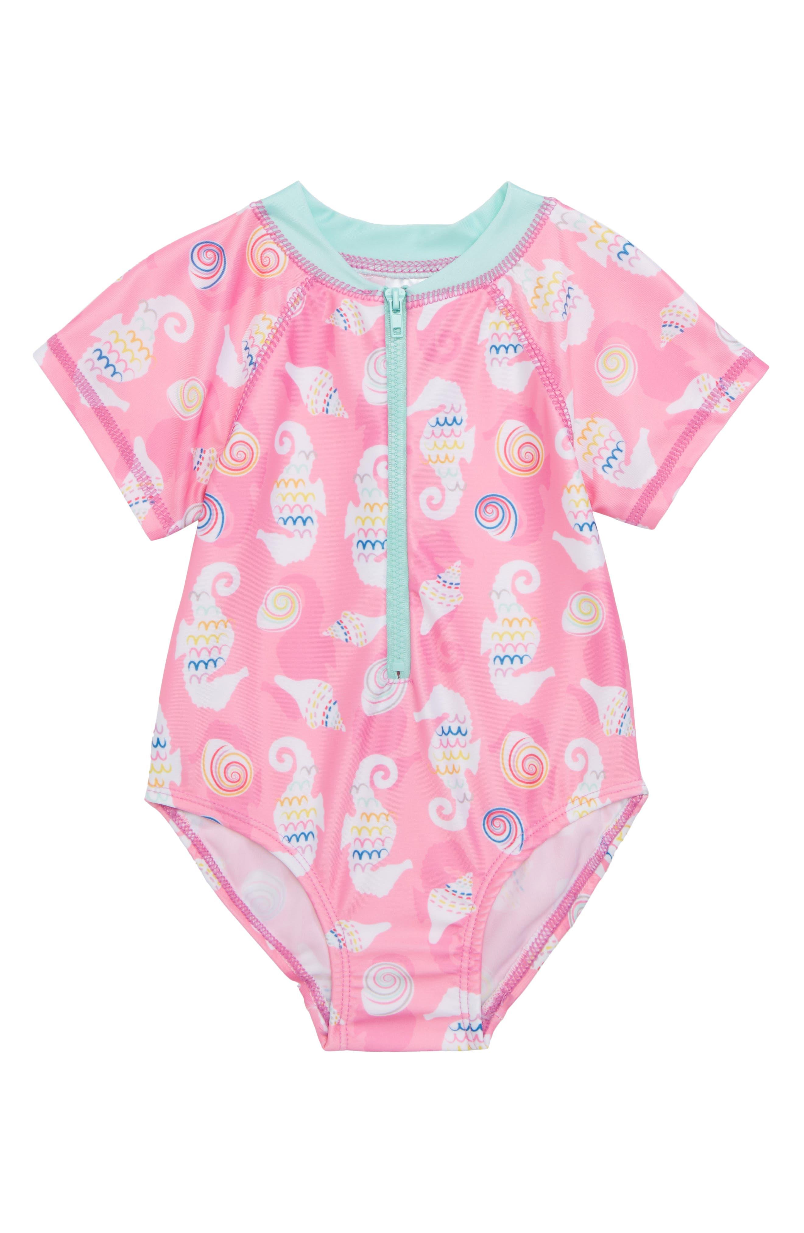 Seahorse/Shells One-Piece Short Sleeve Rashguard Swimsuit,                         Main,                         color, Pink