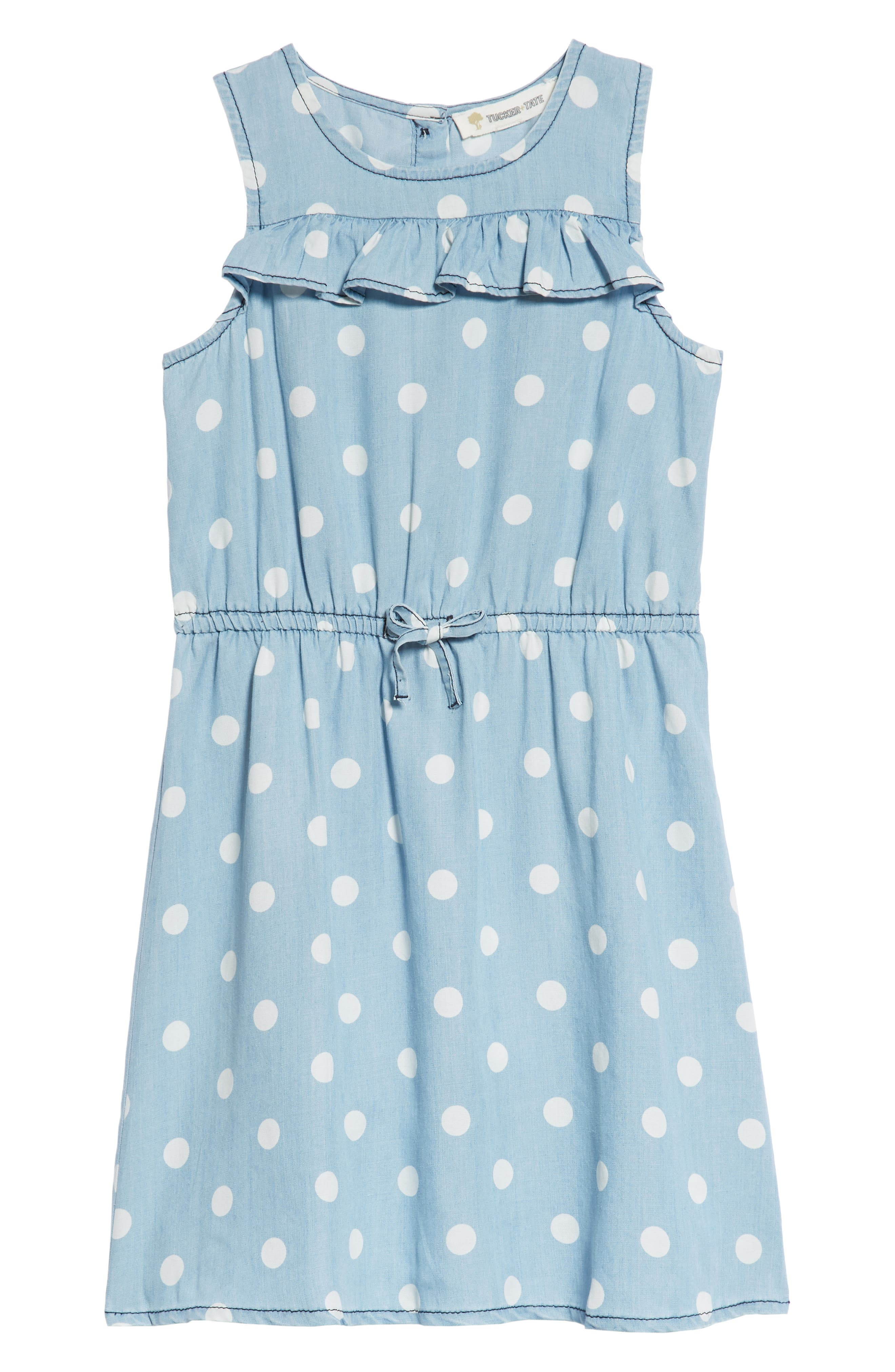Polka Dot Ruffle Dress,                             Main thumbnail 1, color,                             Blue Wash Dot Print