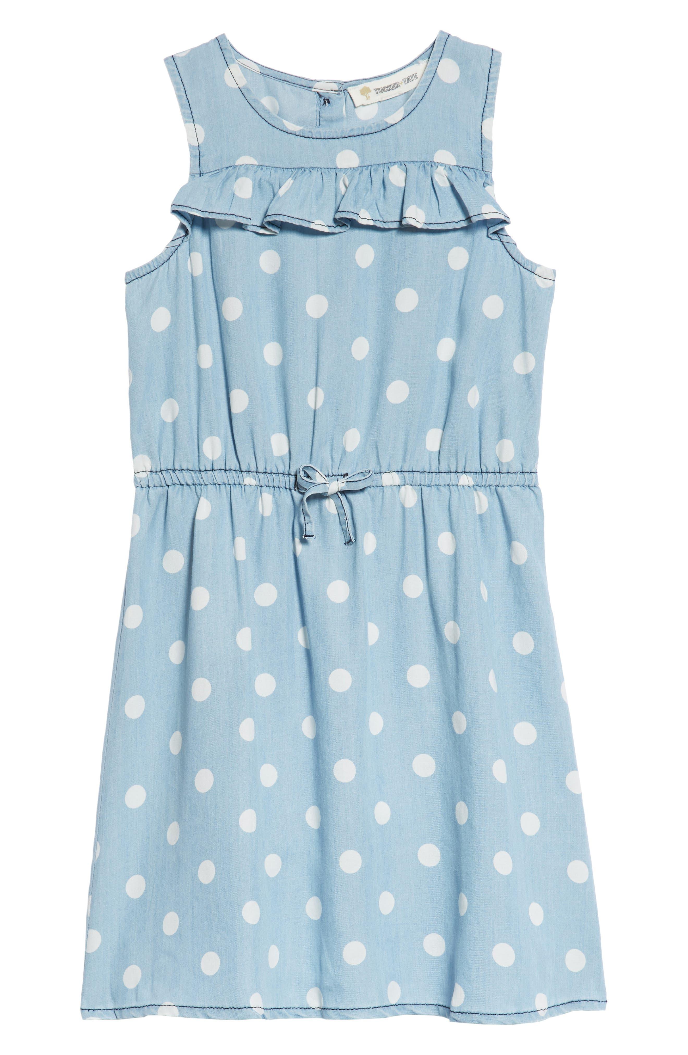 Polka Dot Ruffle Dress,                         Main,                         color, Blue Wash Dot Print