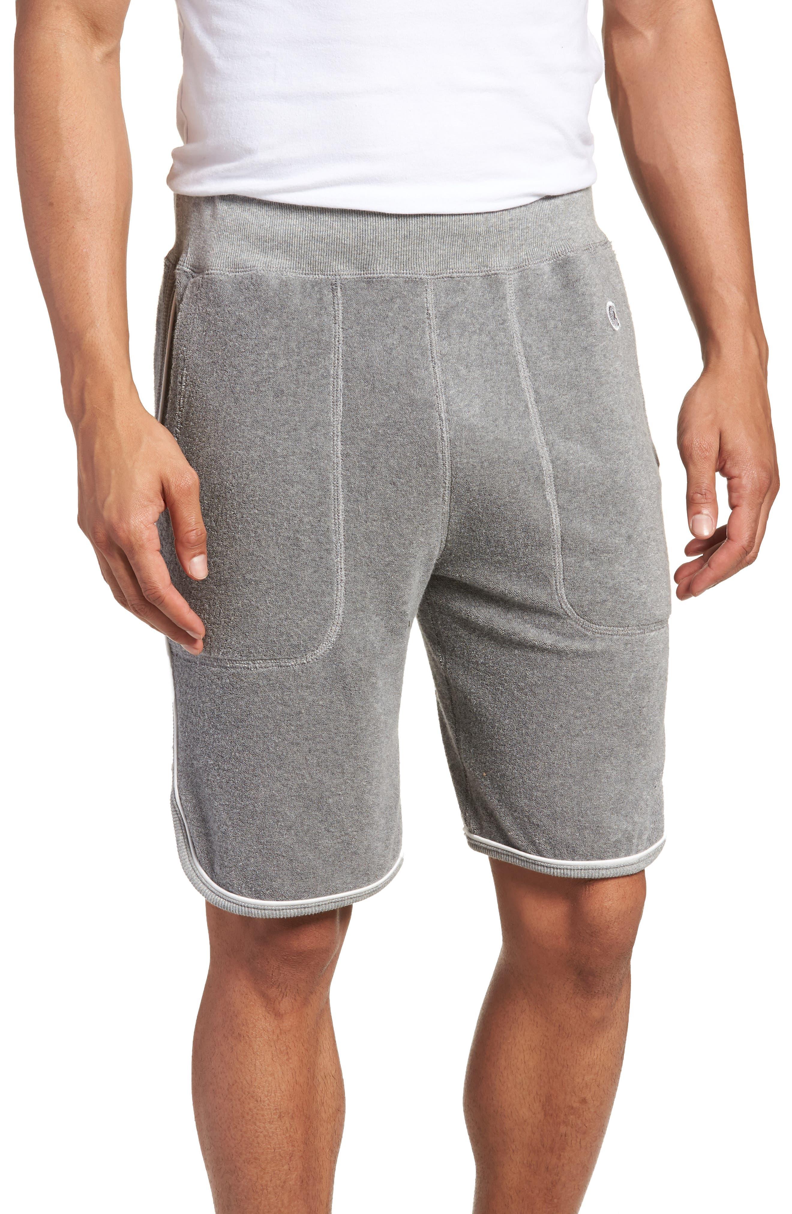 x Champion Piped Terry Shorts,                             Main thumbnail 1, color,                             Grey