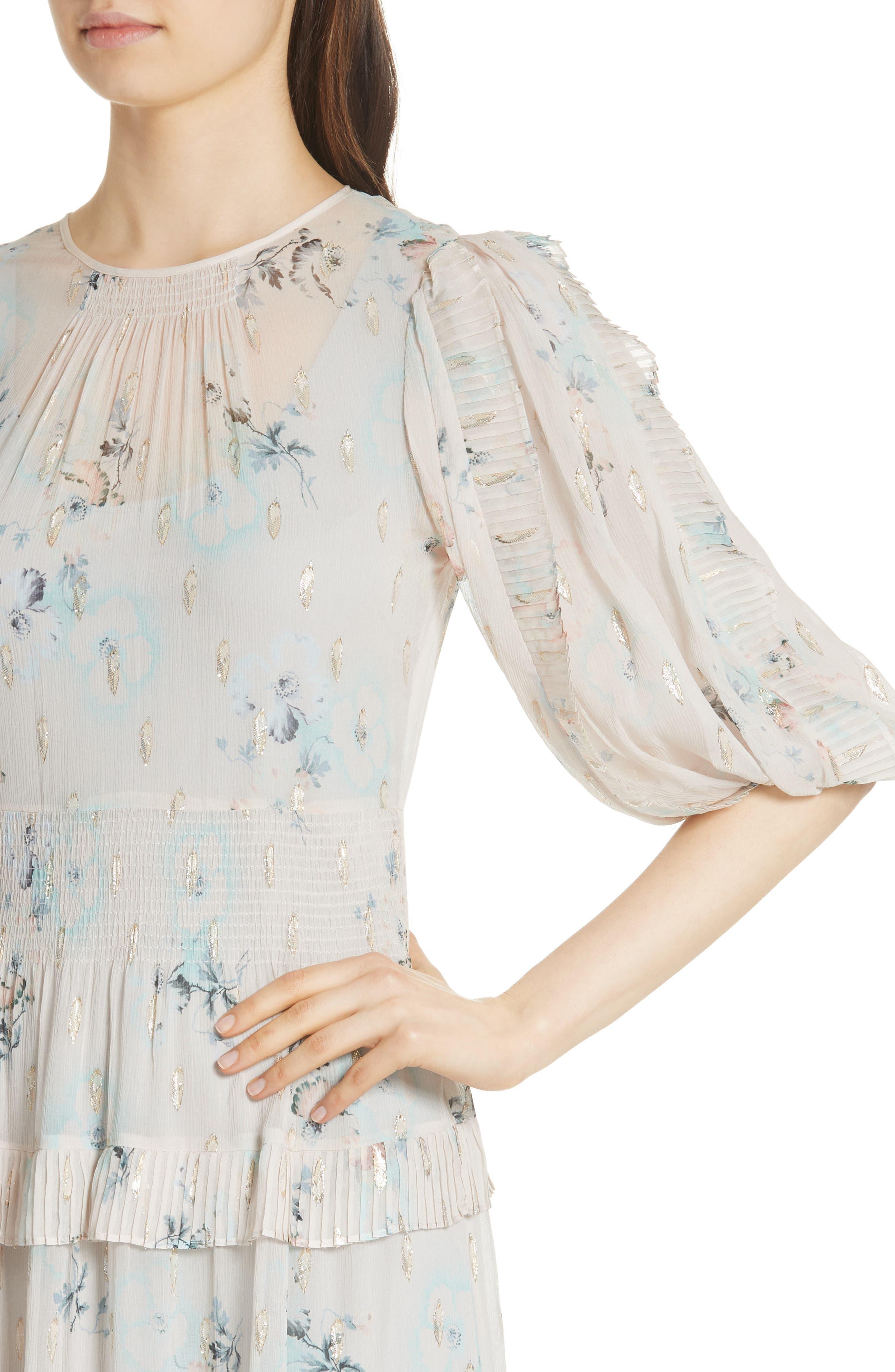 Metallic Faded Floral Midi Dress,                             Alternate thumbnail 4, color,                             Stone