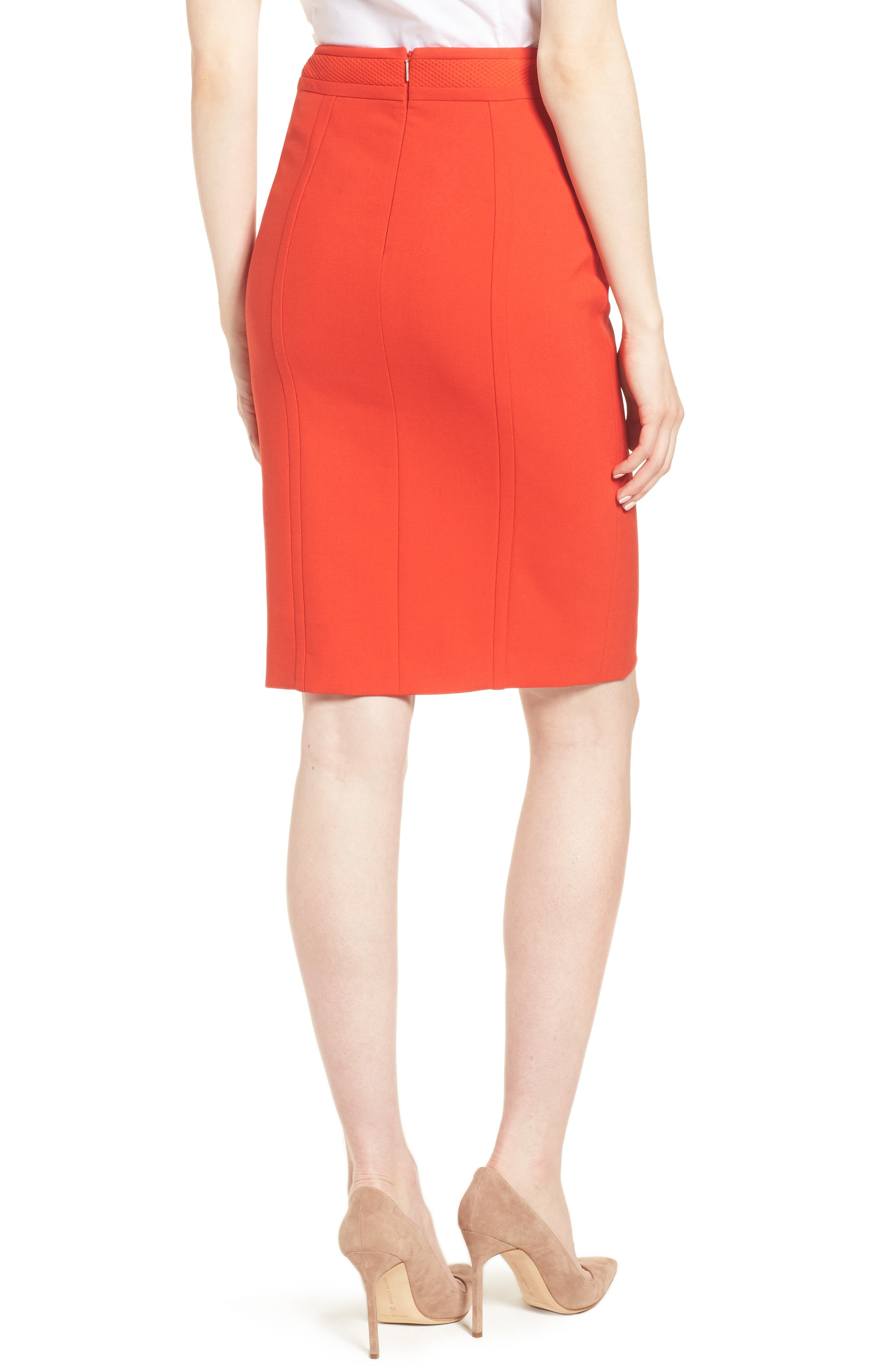 Vadama Ponte Pencil Skirt,                             Alternate thumbnail 2, color,                             Sunset Orange