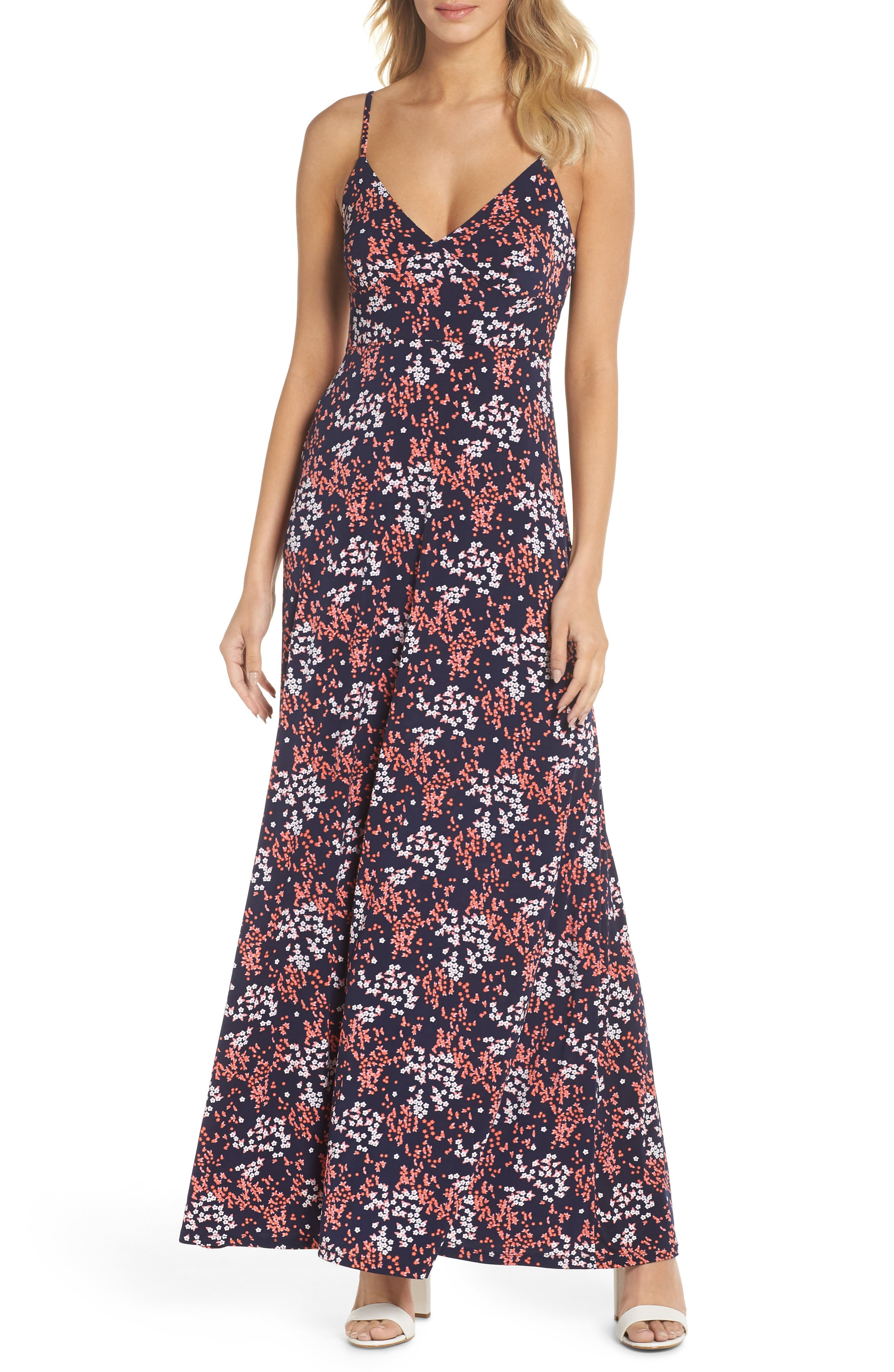 Bloom Maxi Dress,                         Main,                         color, True Navy/ Bight Blush