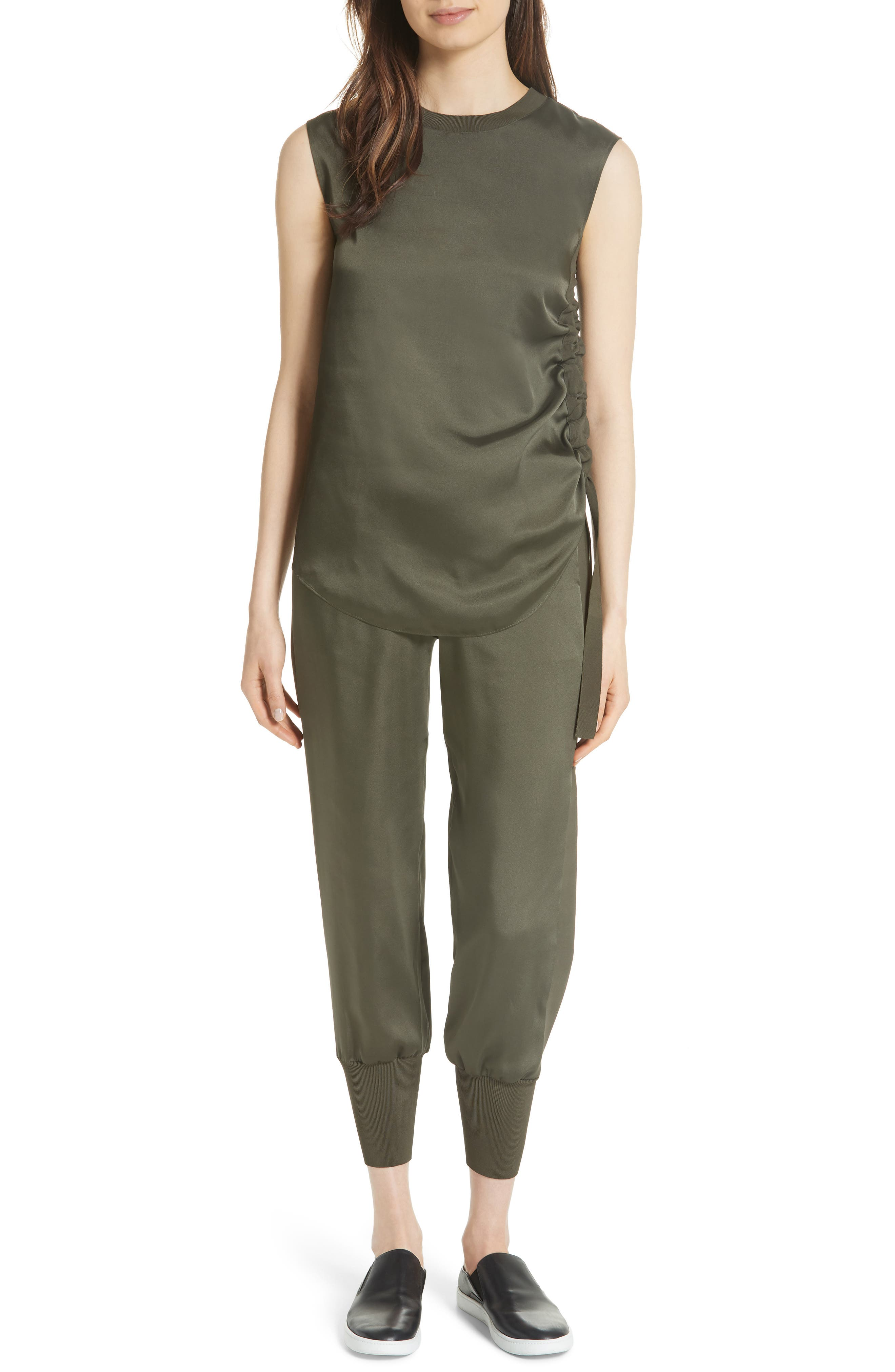 Side Ruched Top,                             Alternate thumbnail 6, color,                             Khaki