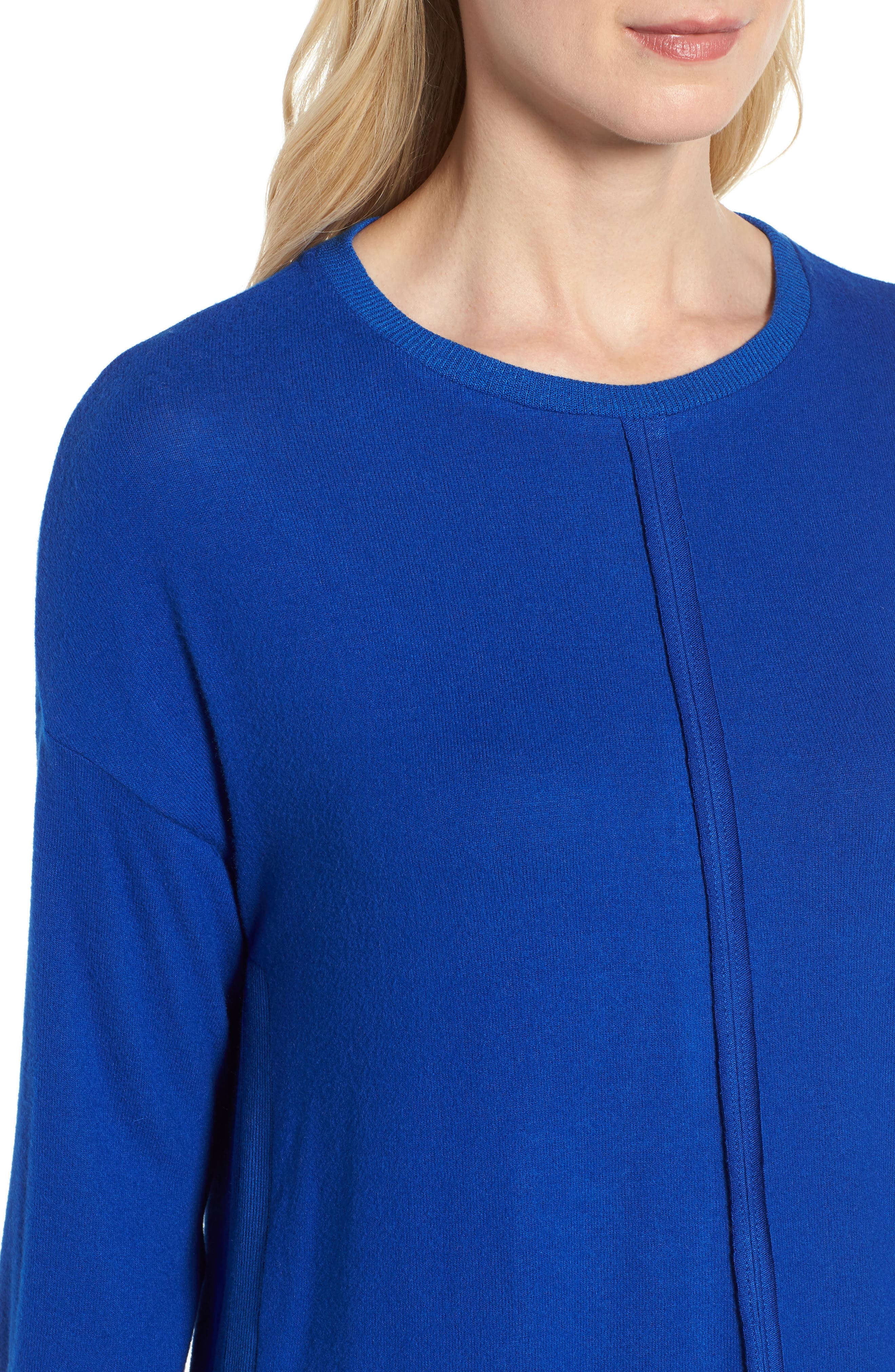 Cozy Fleece Tunic,                             Alternate thumbnail 4, color,                             Blue Surf