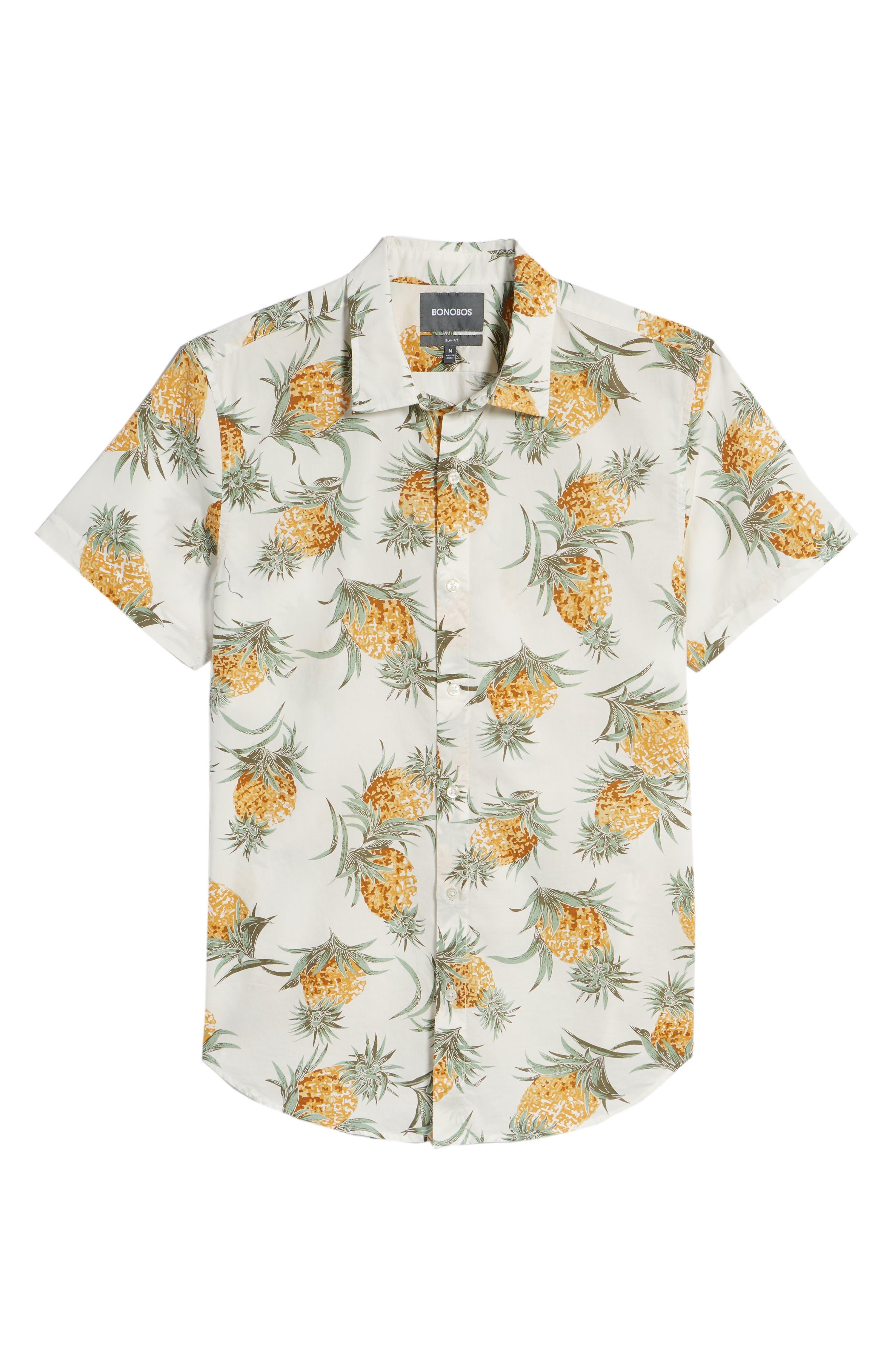 Slim Fit Print Sport Shirt,                             Alternate thumbnail 6, color,                             Pineapples - White