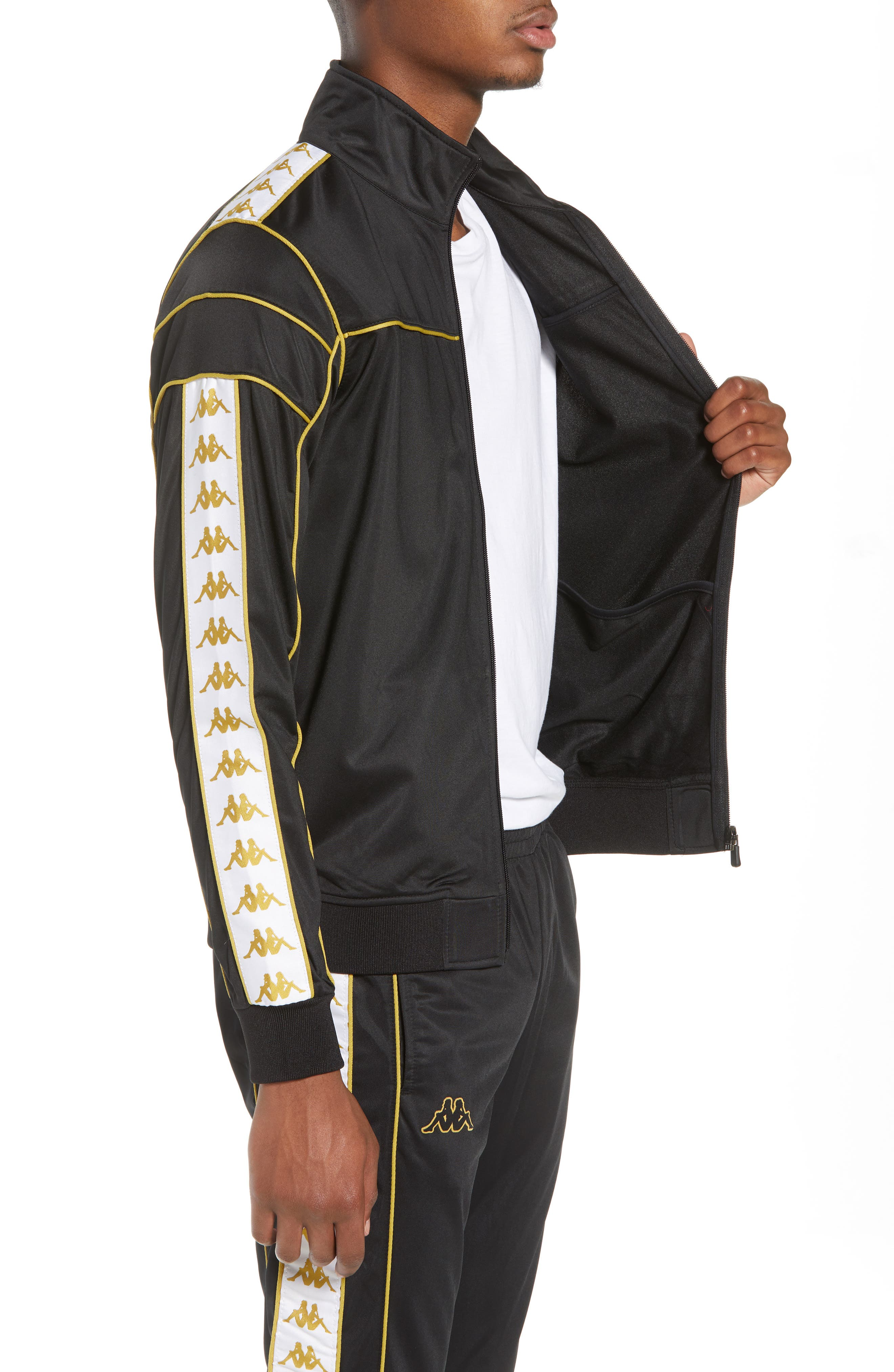 Racing Track Jacket,                             Alternate thumbnail 3, color,                             Black/ White Gold