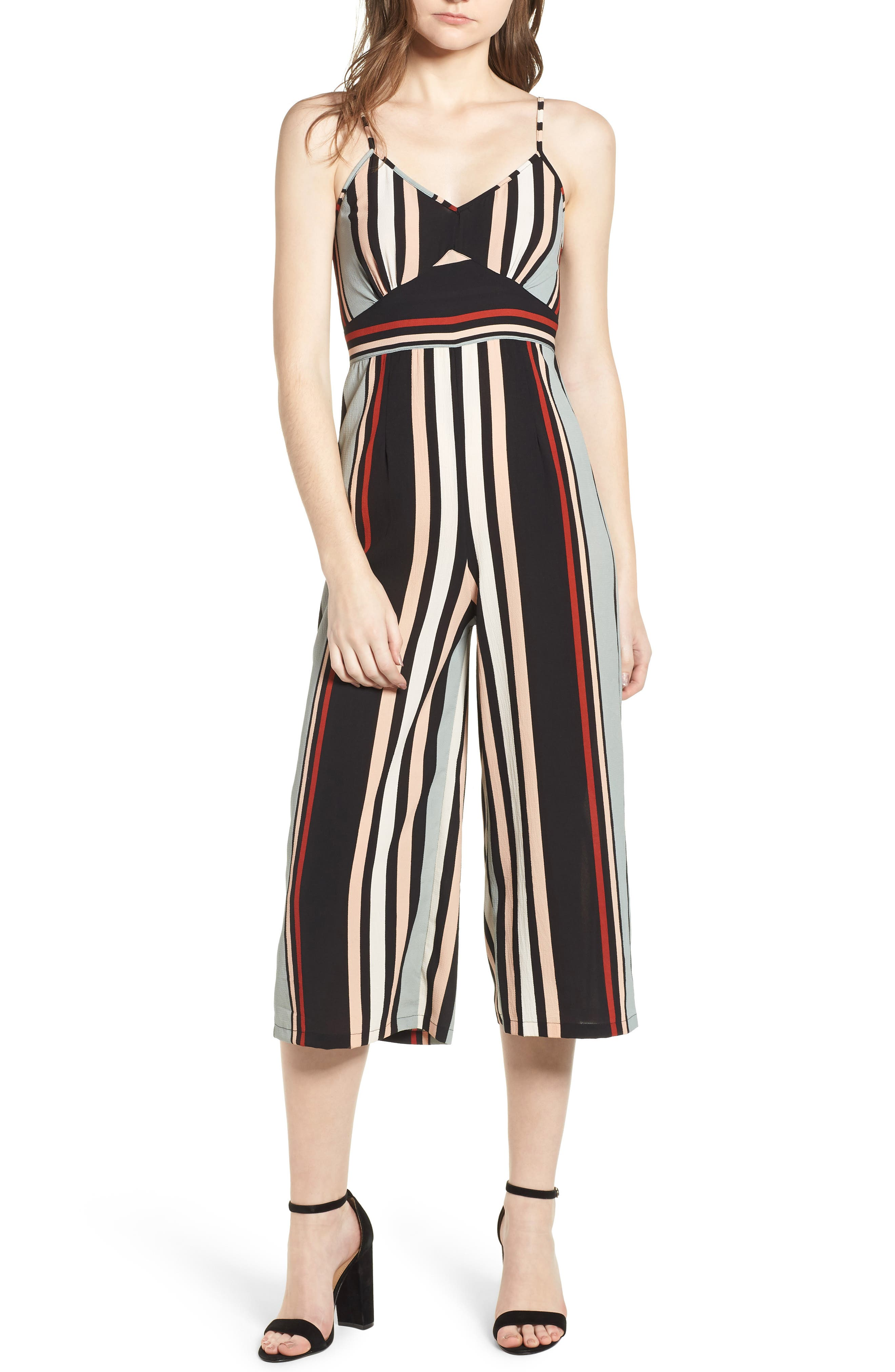 Stripe Jumpsuit,                             Main thumbnail 1, color,                             Blue-Black