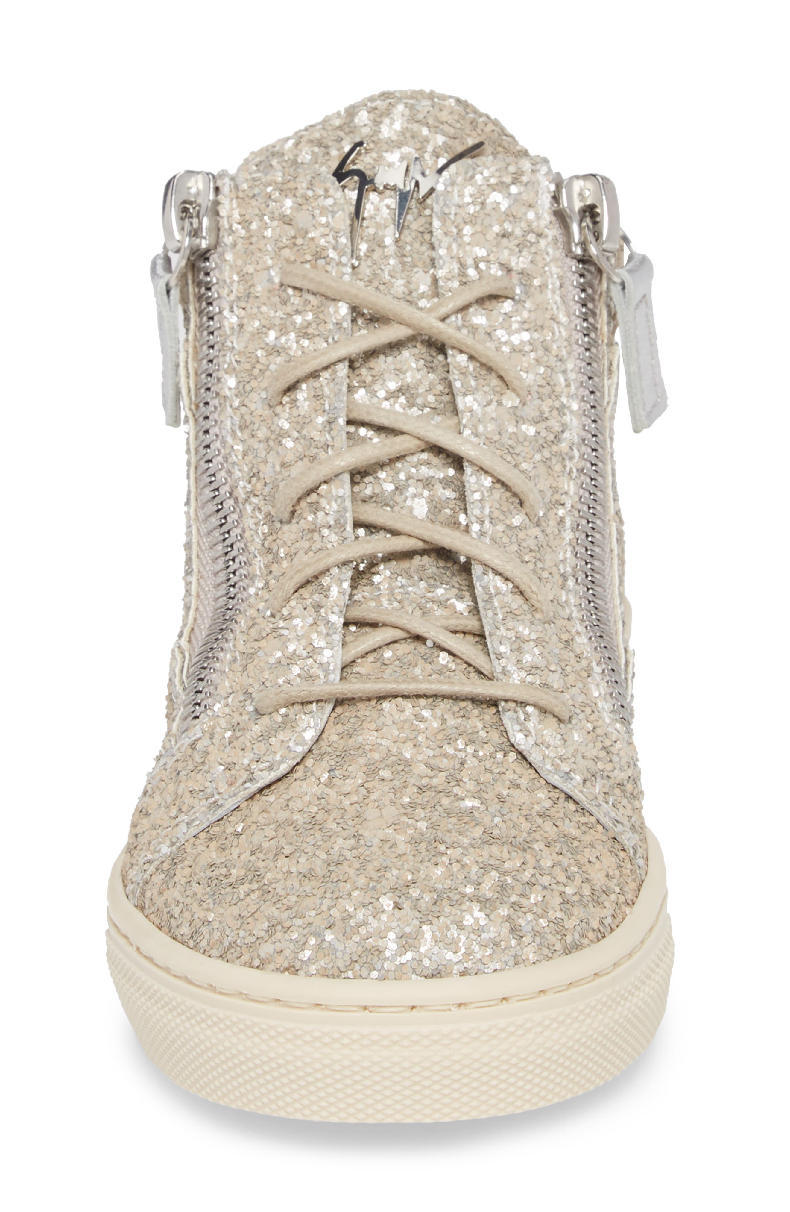 Natalie High Top Sneaker,                             Alternate thumbnail 4, color,                             Silver Glitter