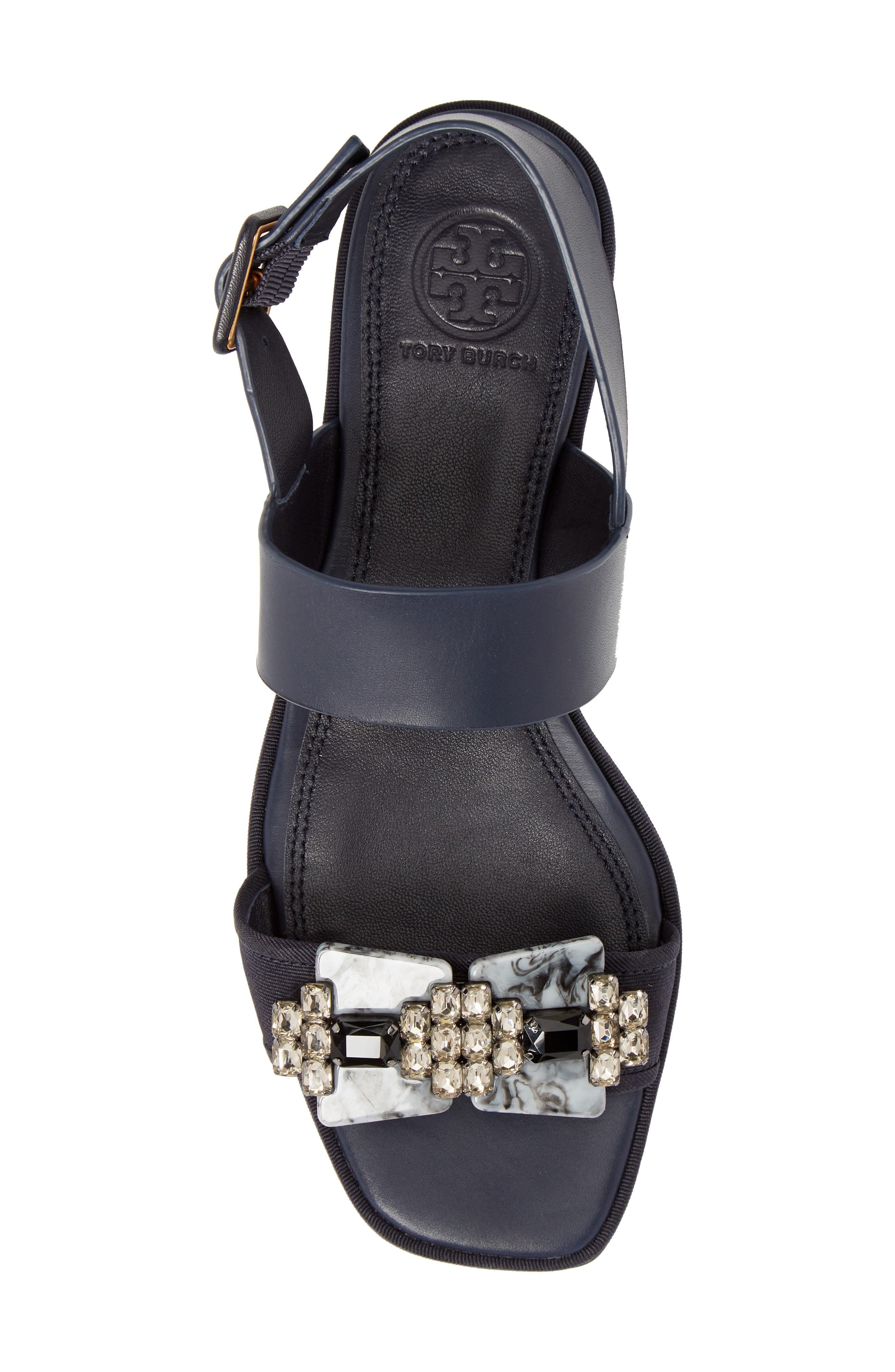 Delaney Embellished Double Strap Sandal,                             Alternate thumbnail 5, color,                             Perfect Navy/ Perfect Navy
