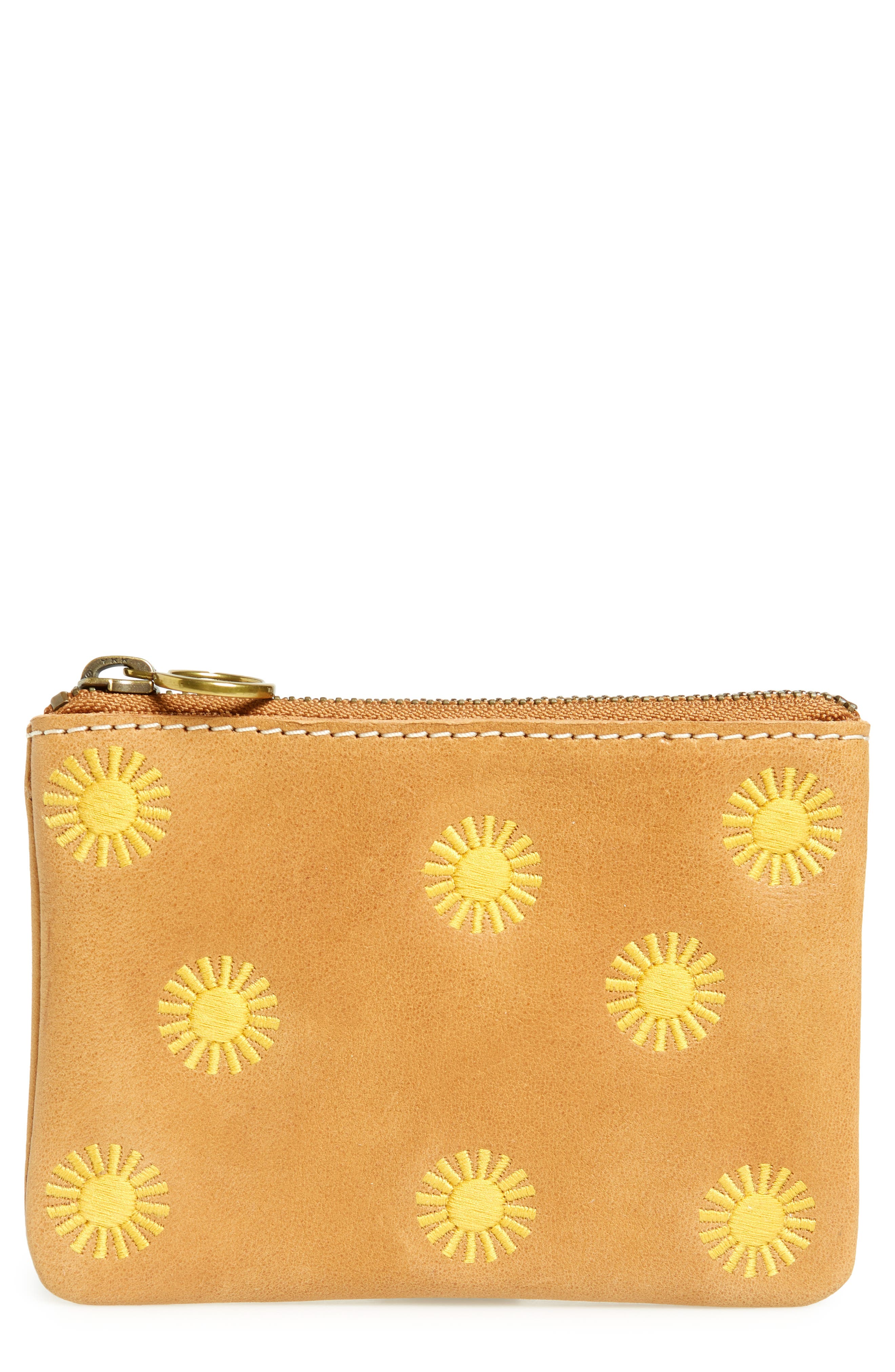 Sun Embroidered Small Flat Zip Pouch,                             Main thumbnail 1, color,                             Burnished Caramel
