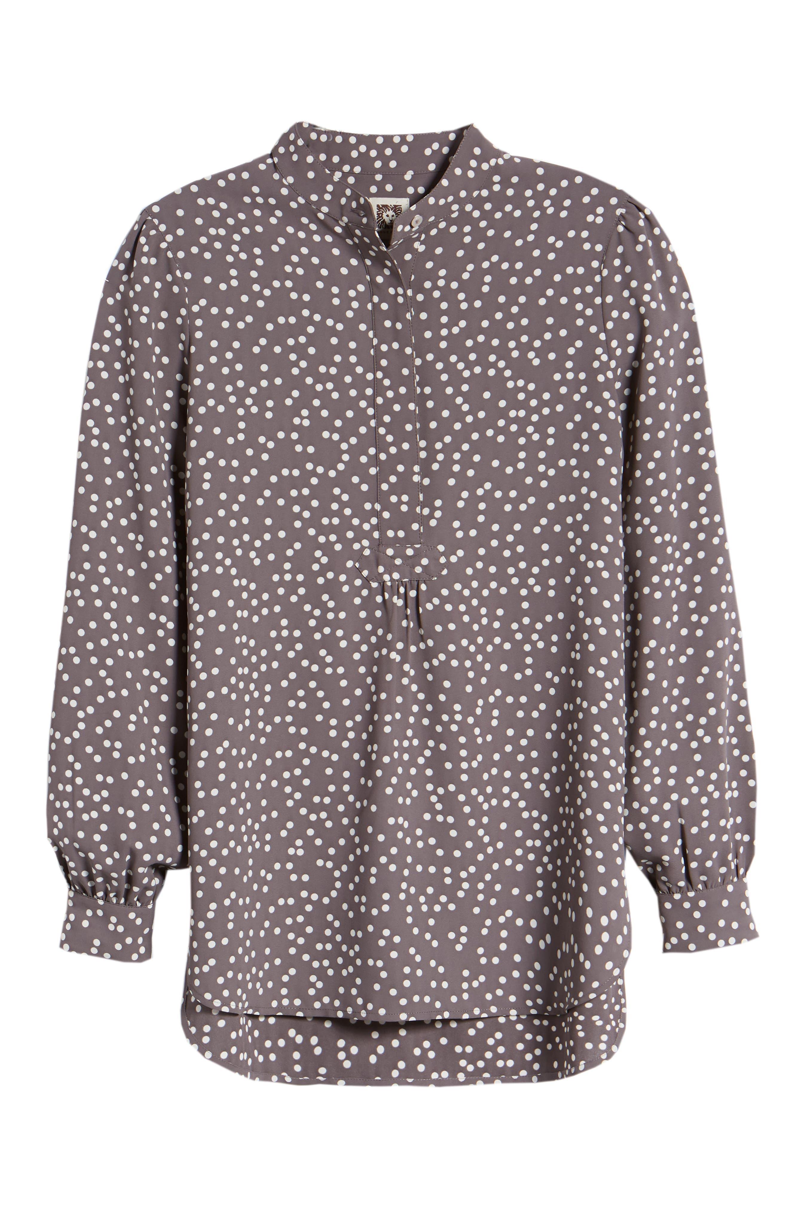 Dot Print Long Sleeve Blouse,                             Alternate thumbnail 7, color,                             Nantucket Grey/ Oyster Shell